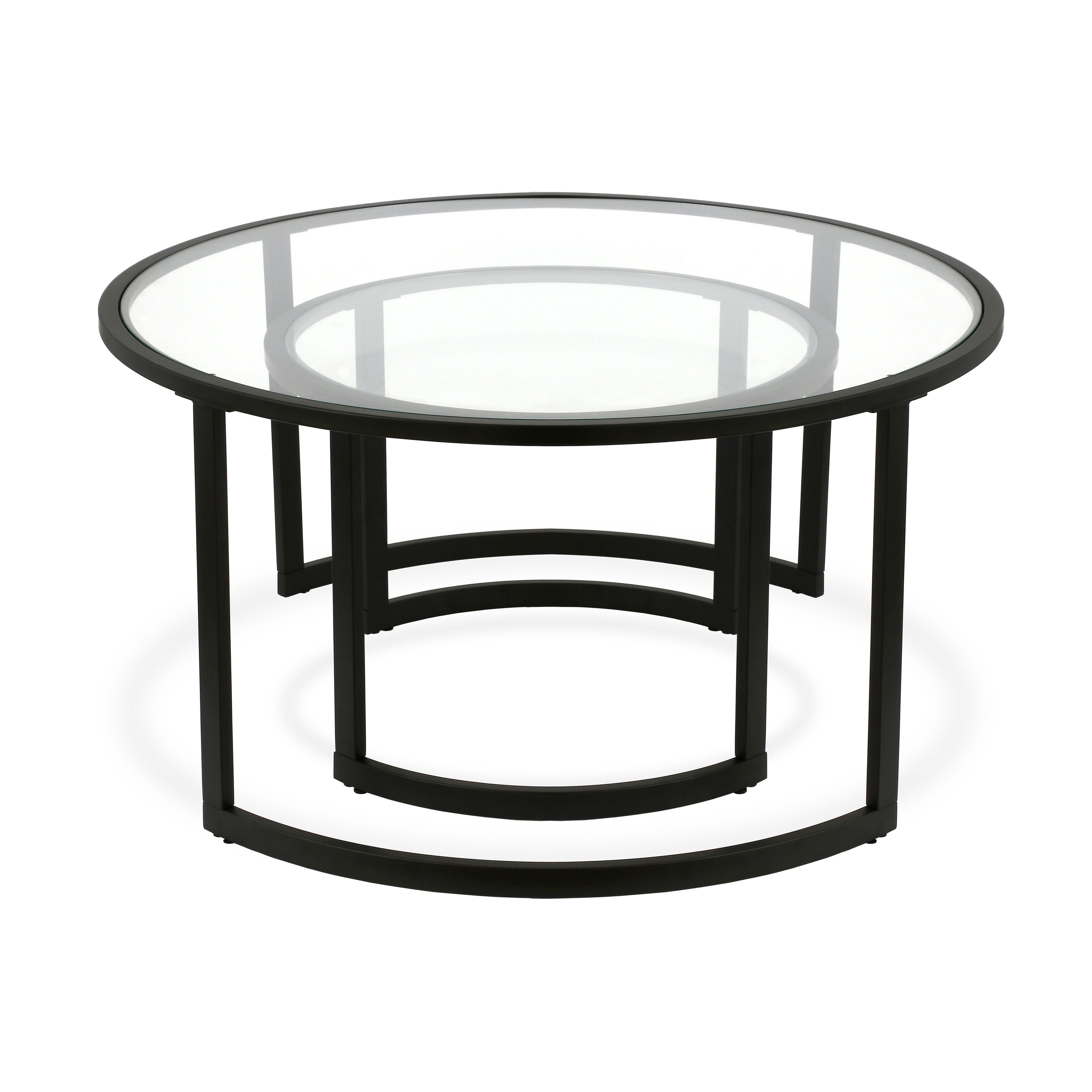 Newest Mitera Round Metal Glass Nesting Coffee Tables For Mitera Round Metal/glass Nesting Coffee Tables Set Of 2 (Optional Finishes) (View 15 of 20)