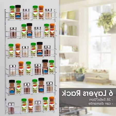 Newest Online 6 Tier Kitchen Door Wall Mounted Storage Rack Cabinet Hanging  Organizer Pantry Home Spice Can Shelving Holder Regarding Amaia 3 Piece Kitchen Pantry (View 16 of 20)