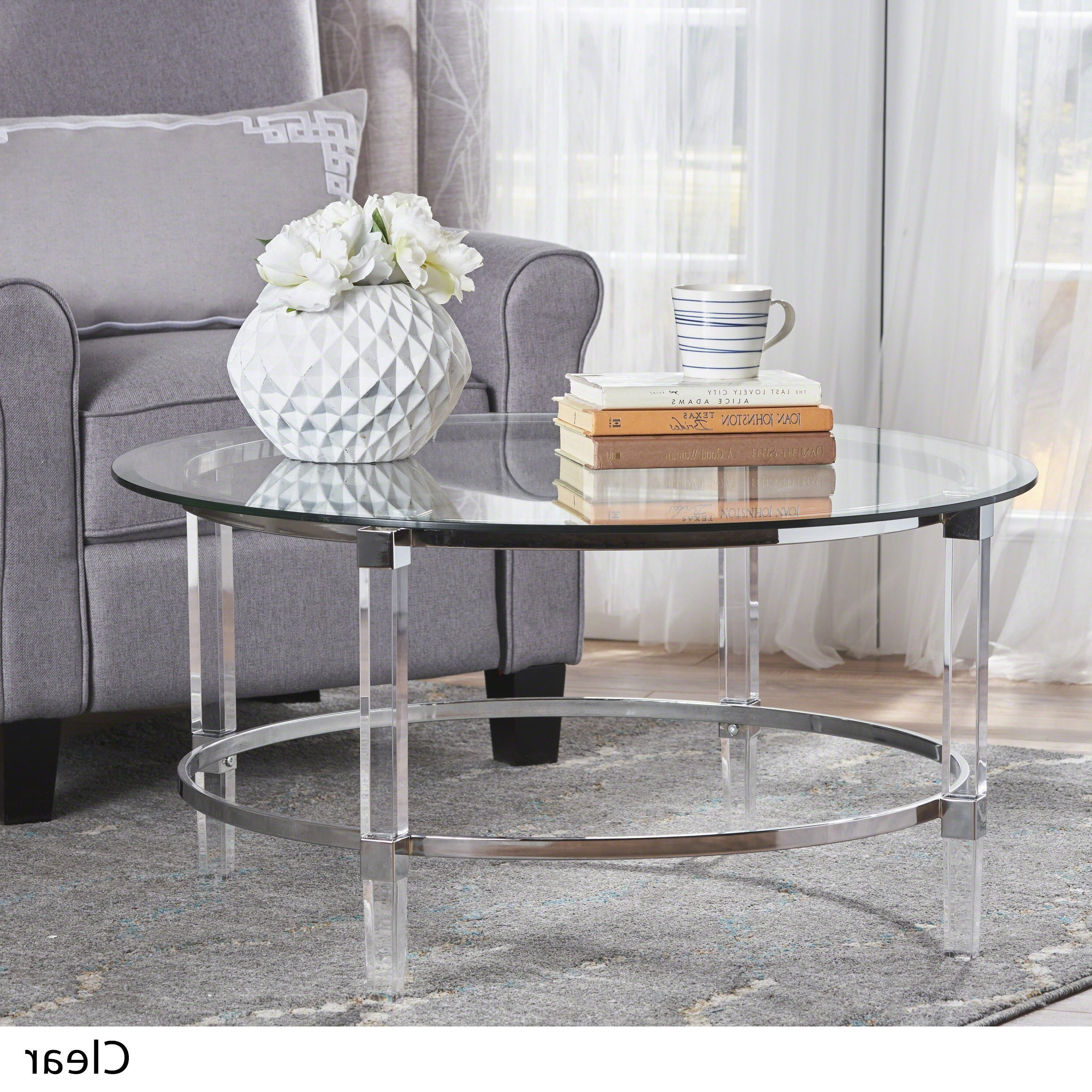Newest Silver Orchid Bardeen Round Coffee Tables For Elowen Round Glass Coffee Tablechristopher Knight Home (View 18 of 20)