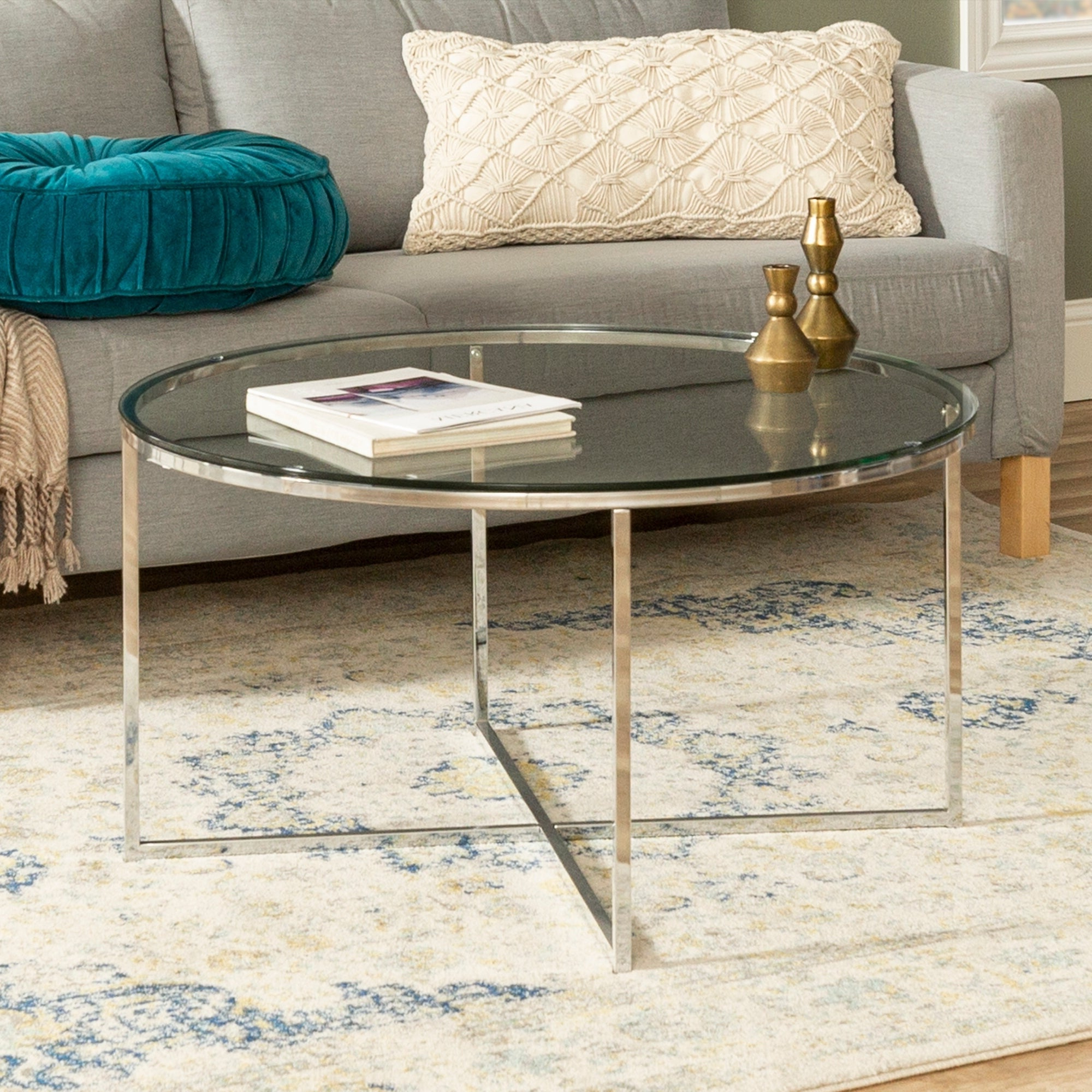 Newest Silver Orchid Ipsen Round Coffee Tables With X Base Within Silver Orchid Ipsen 36 Inch Round Coffee Table With X Base – 36 X 36 X 19h (View 2 of 20)