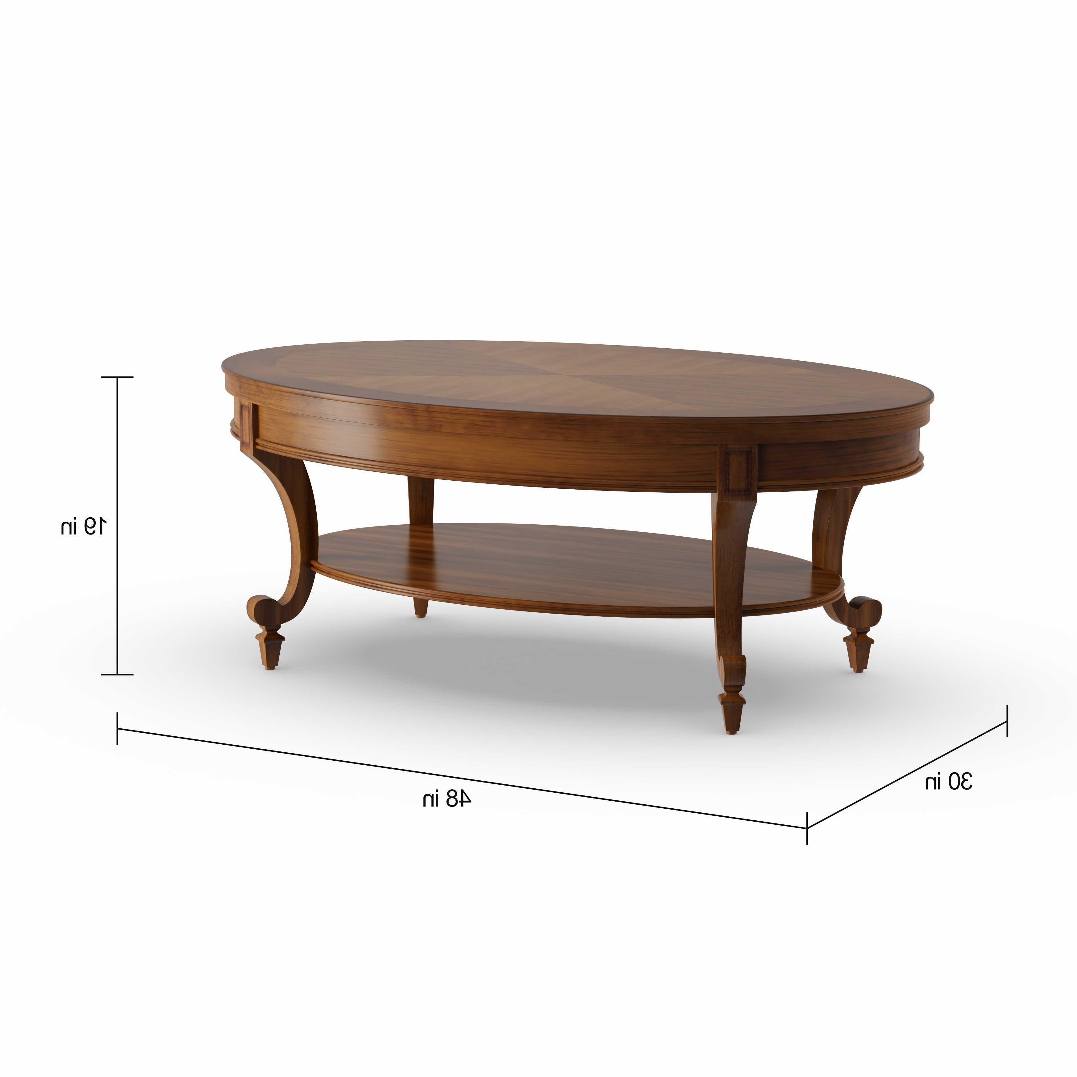 Newest Winslet Cherry Finish Wood Oval Coffee Tables With Casters Intended For Gracewood Hollow Dones Traditional Cinnamon Round End Table (View 5 of 20)