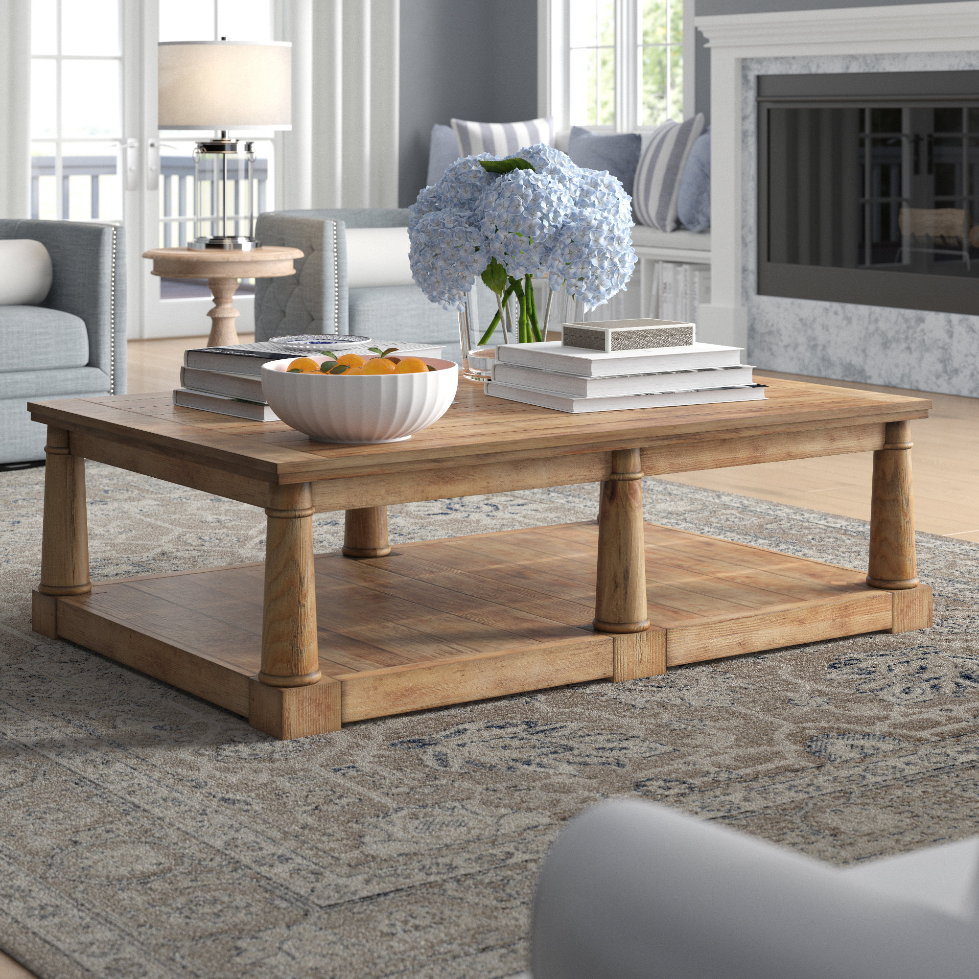 Newsome Coffee Table Throughout 2019 Furniture Of America Charlotte Weathered Oak Glass Top Coffee Tables (View 18 of 20)