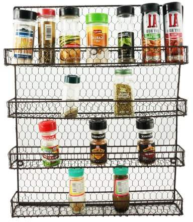 Nice & Great Metal Spice Rack Kitchen Wall Mount 4 Tier Metal Wire Spices Organizer Pantry Cabinet Chicken Wire Hanging Wall Mounted Cupboard Herbs Pertaining To Well Liked Elliana 4 Door Storage Kitchen Pantry (View 16 of 20)