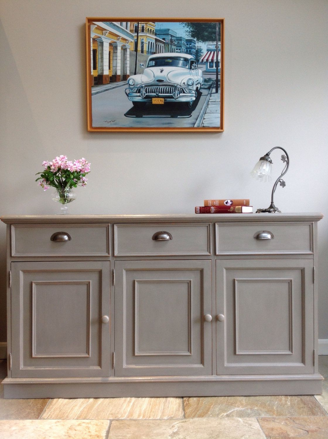Now Sold* Rustic Painted Grey Pine Country Sideboard With Emmaline Sideboards (View 17 of 20)