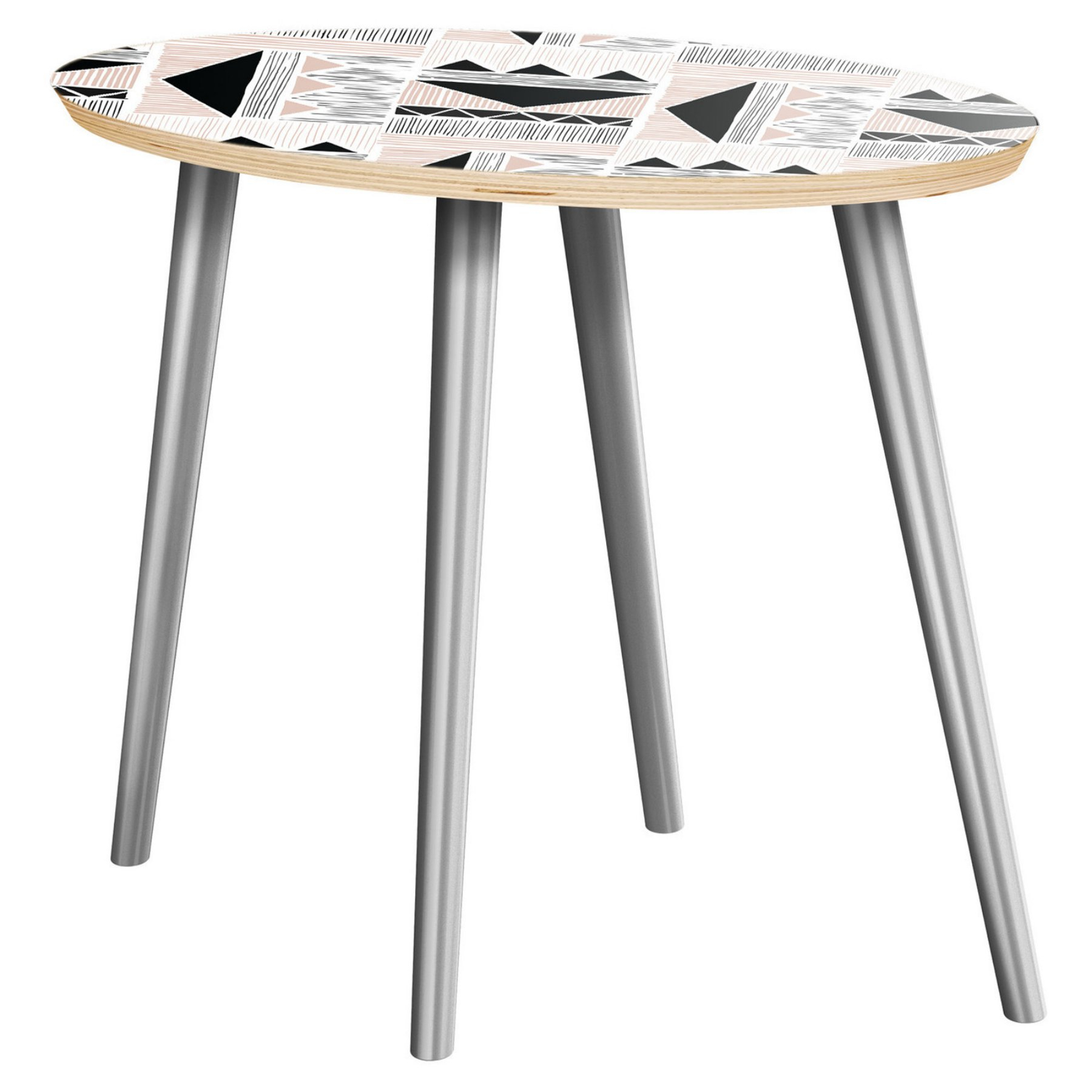 Nyekoncept Ondine Mudcloth Print Flare Side Table – 12009850 Regarding Best And Newest Furniture Of America Orelia Brass Luxury Copper Metal Coffee Tables (View 13 of 20)