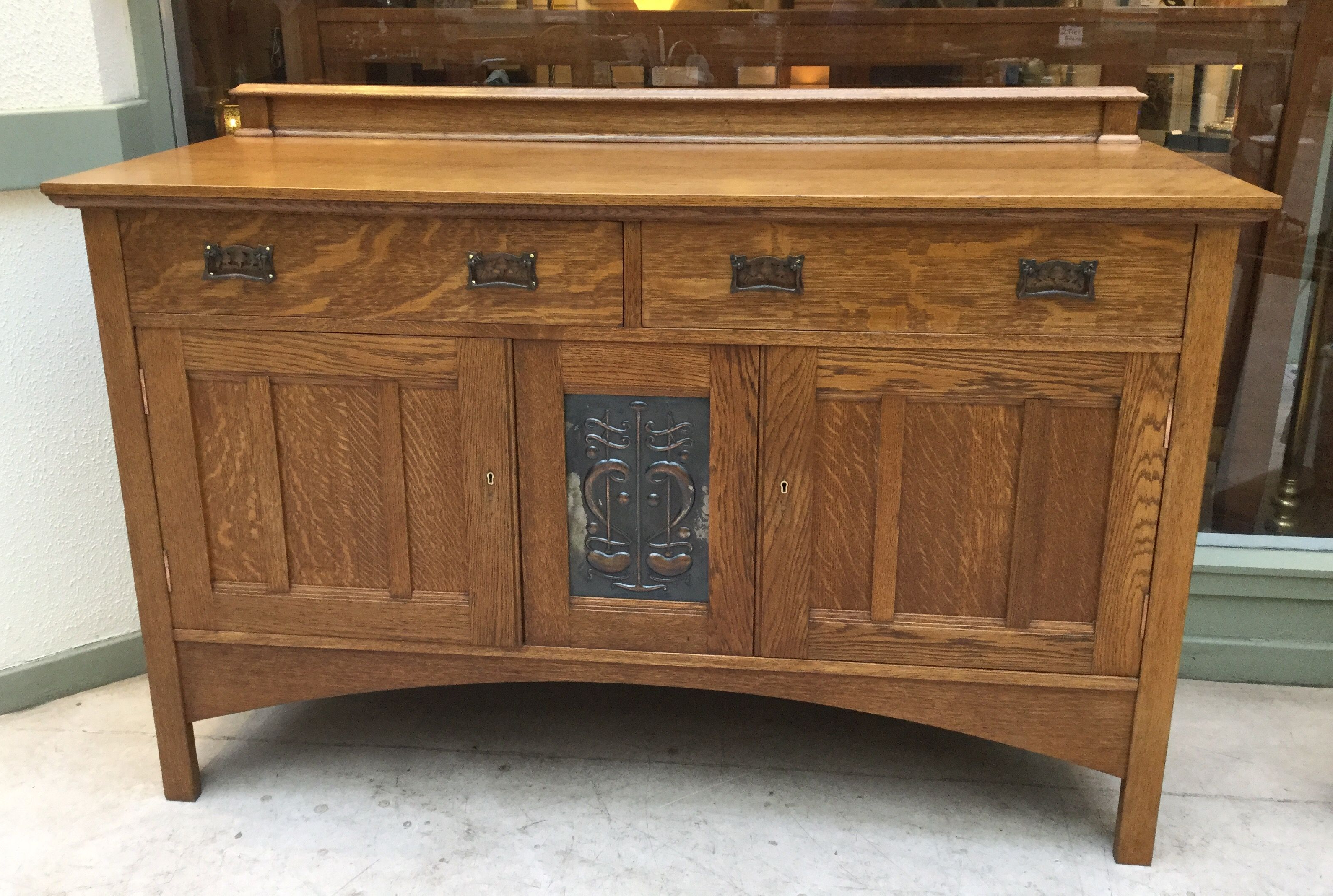 Oak Sideboard, With Original Beaten Copper Panel | Arts And Inside Ruskin Sideboards (View 3 of 20)