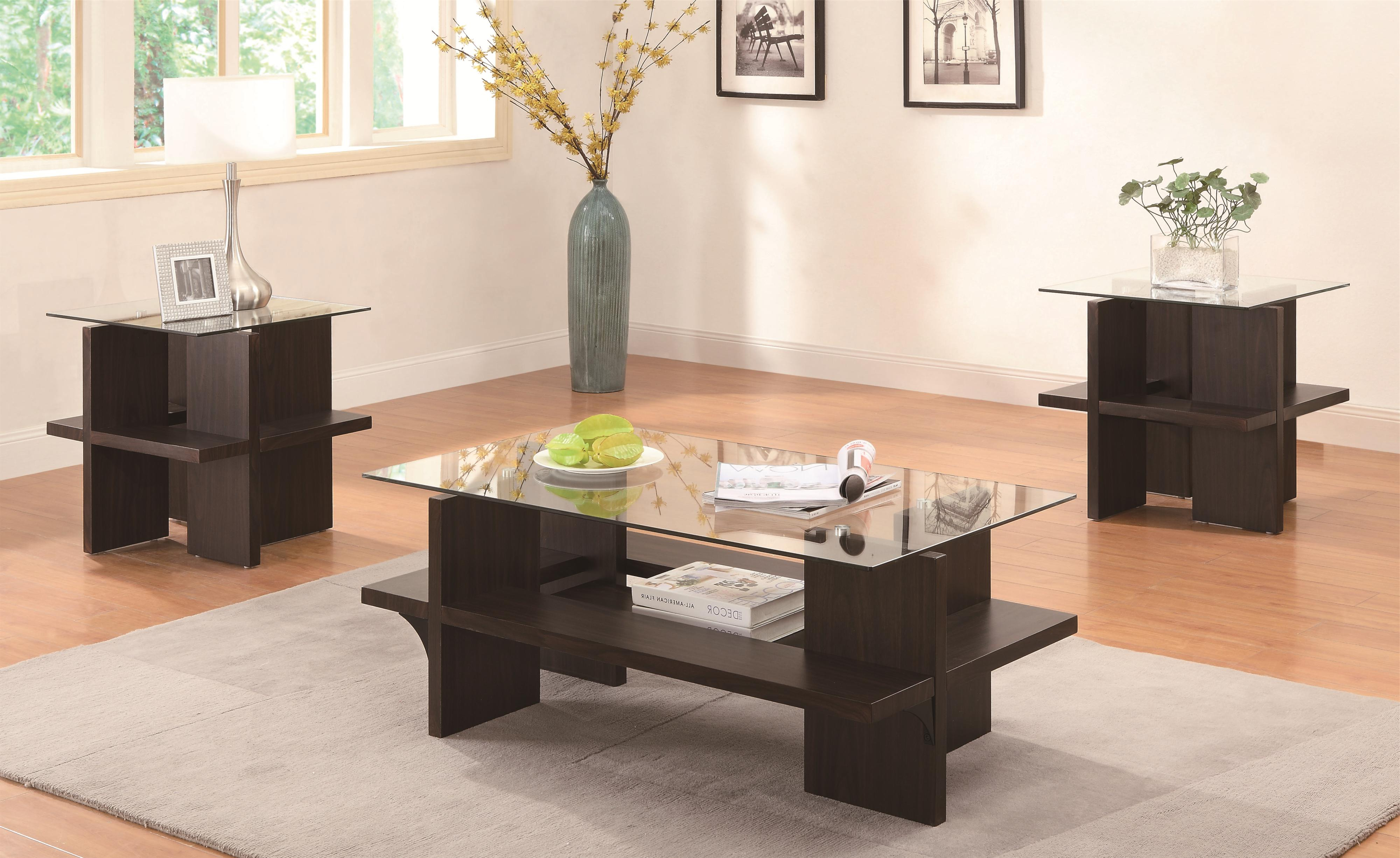 Occasional Table Sets (3 Piece Table Sets)coaster – Sam For 2020 Coaster Company Silver Glass Coffee Tables (View 8 of 20)