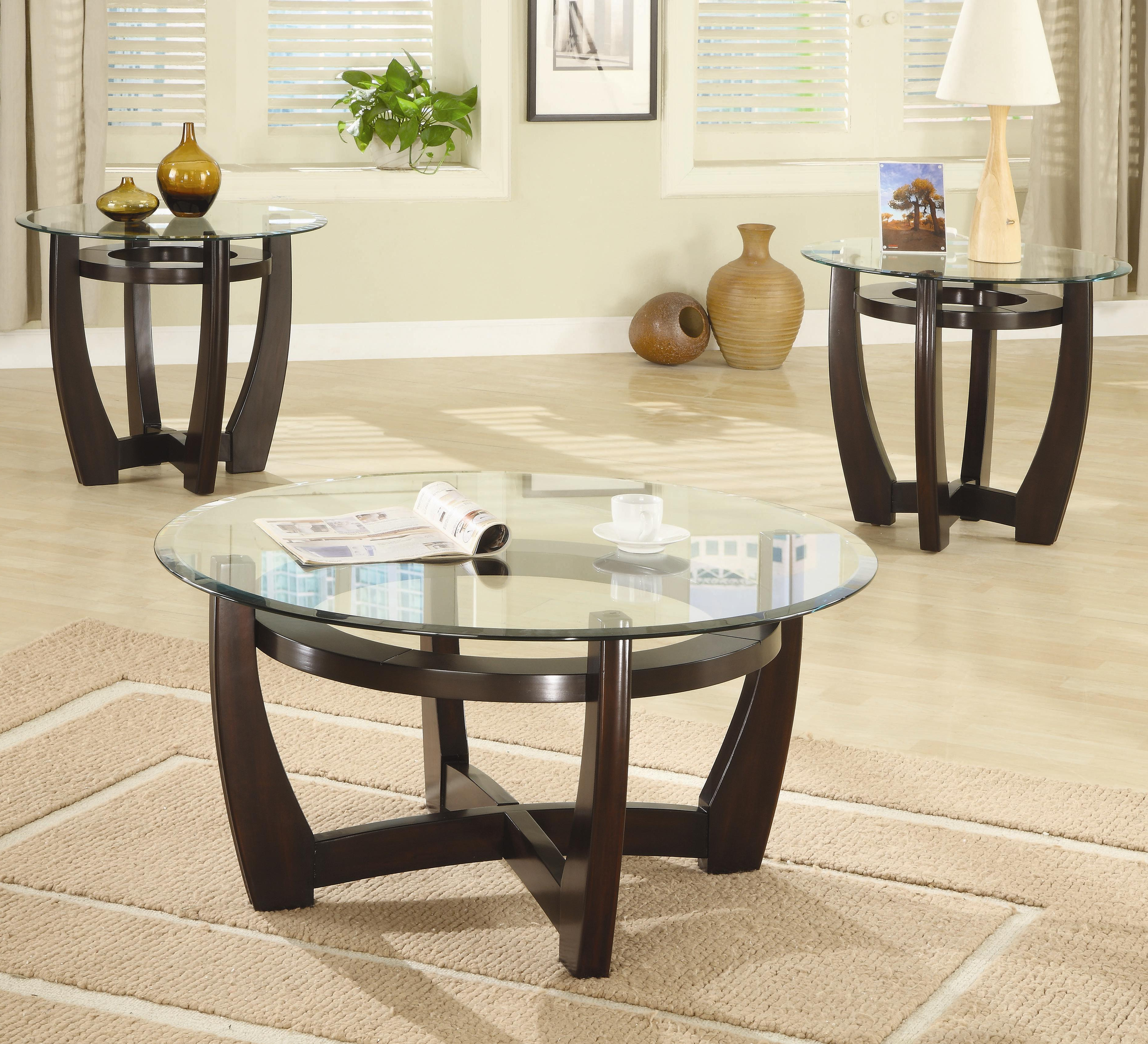 Occasional Table Sets (3 Piece Table Sets)coaster – Sam Regarding Famous Coaster Company Silver Glass Coffee Tables (View 14 of 20)