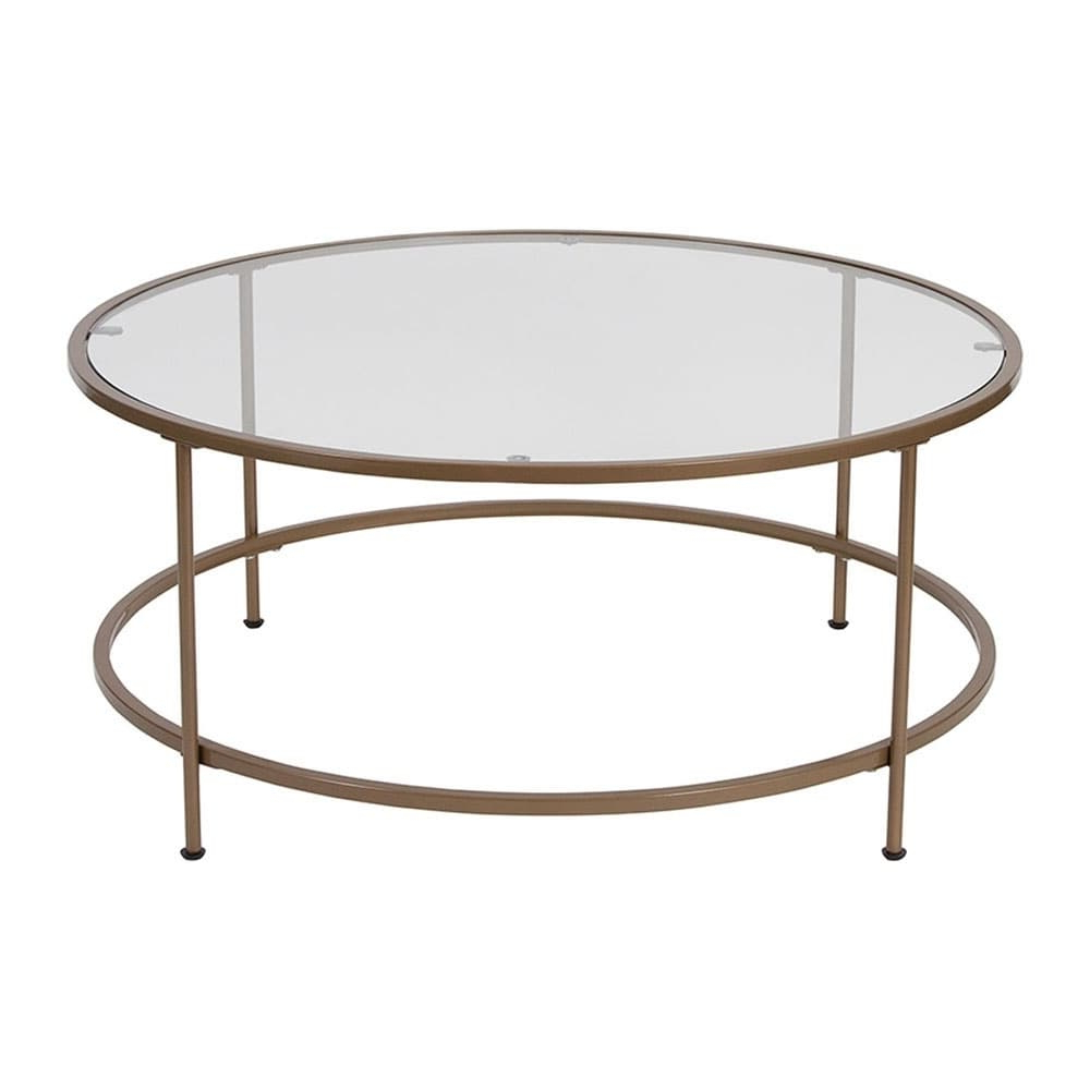Offex Contemporary Glass Coffee Table With Matte Gold Frame In Current Mitera Round Metal Glass Nesting Coffee Tables (View 16 of 20)