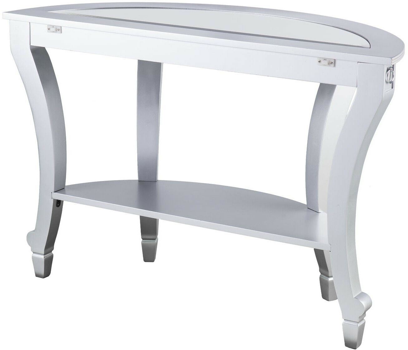 Olivia Glam Mirrored Demilune Console Table – Matte Silver For Recent Silver Orchid Olivia Glam Mirrored Round Cocktail Tables (View 17 of 20)