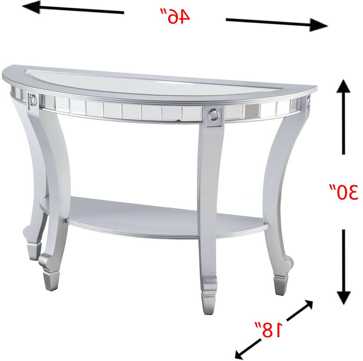 Olivia Glam Mirrored Demilune Console Table – Matte Silver In Preferred Silver Orchid Olivia Glam Mirrored Round Cocktail Tables (View 14 of 20)