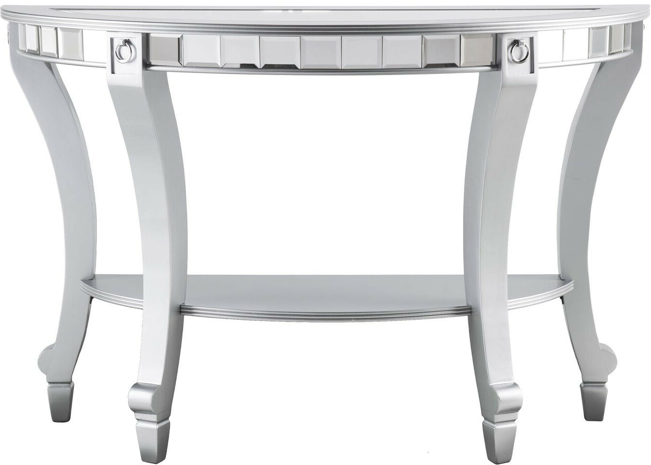Olivia Glam Mirrored Demilune Console Table – Matte Silver Inside Trendy Silver Orchid Olivia Glam Mirrored Round Cocktail Tables (View 13 of 20)