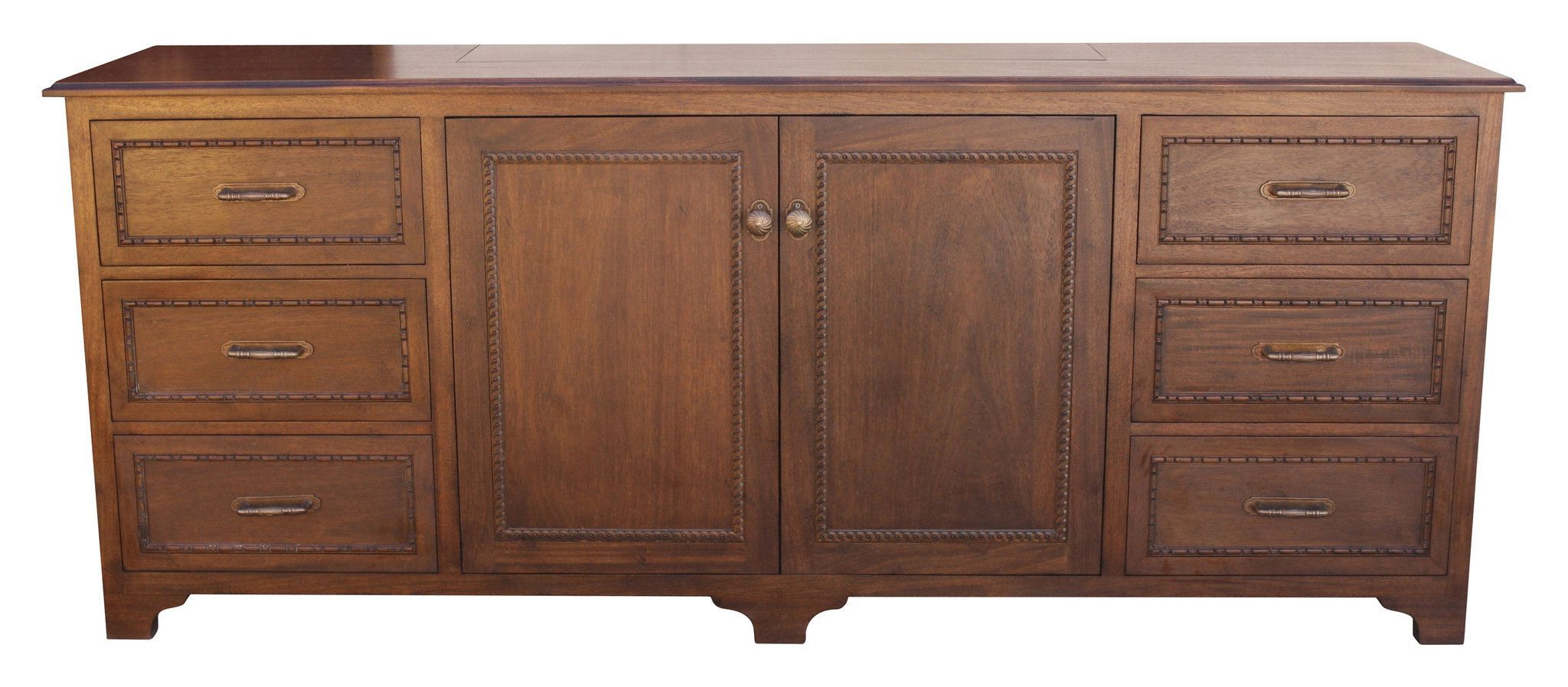 One Kings Lane Beulah 3 Door Cabinet – Pecan In 2019 Throughout Chaffins Sideboards (View 14 of 20)