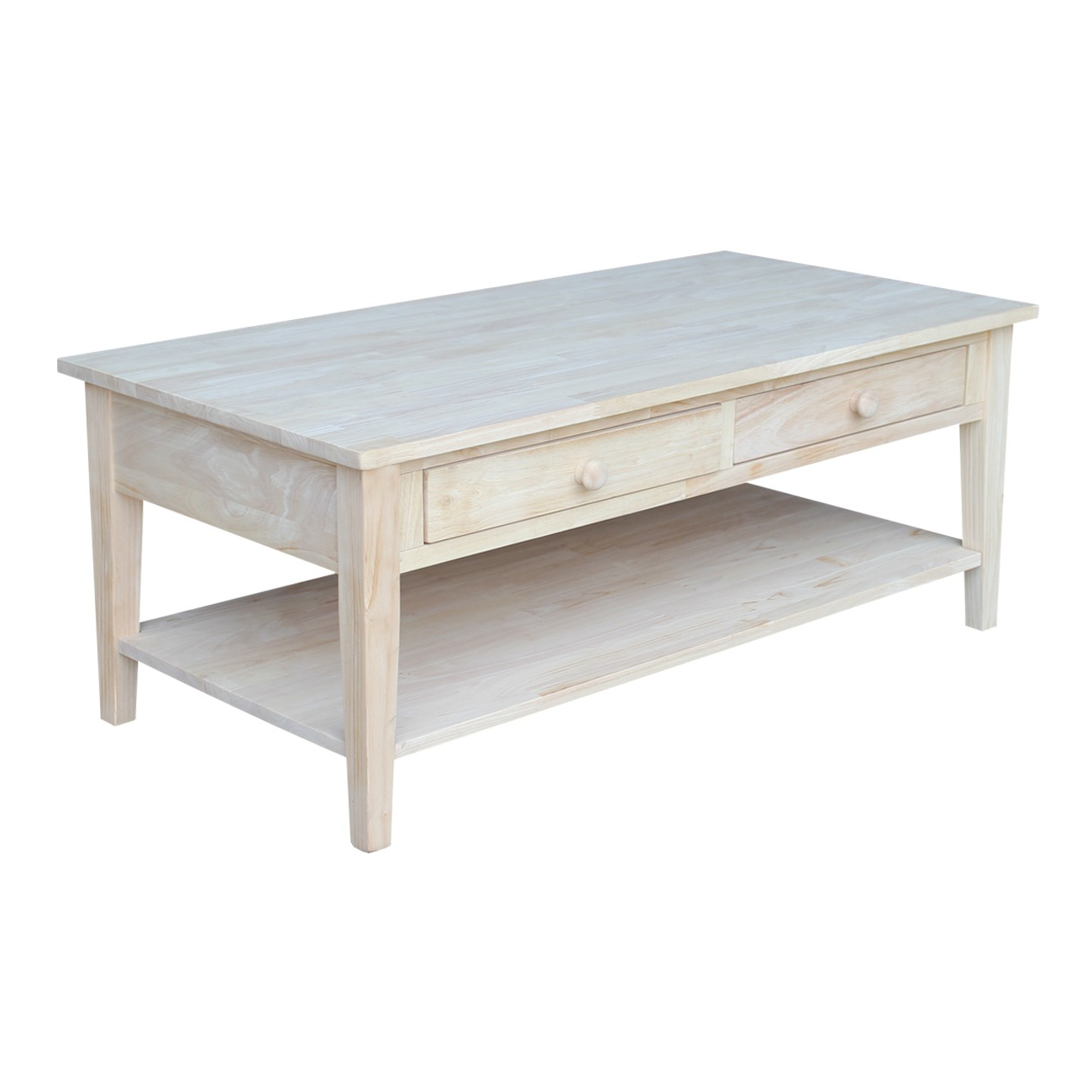 Ot 8c Spencer Coffee Table With Drawers In Newest Shaker Unfinished Solid Parawood Tall Coffee Tables (View 18 of 20)