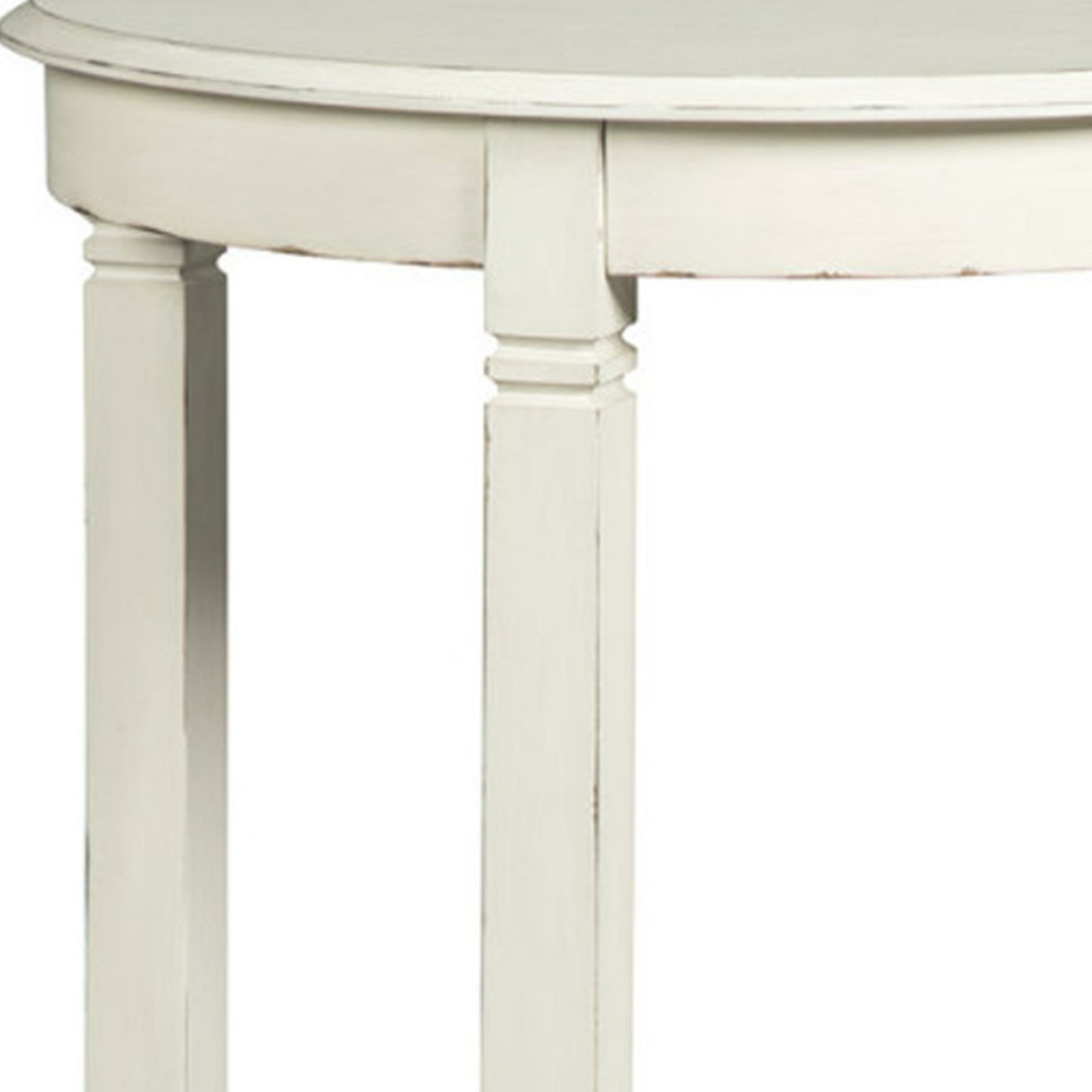 Palen Wooden Half Moon Console Table For Trendy Arella Ii Modern Distressed Grey White Coffee Tables (View 19 of 20)