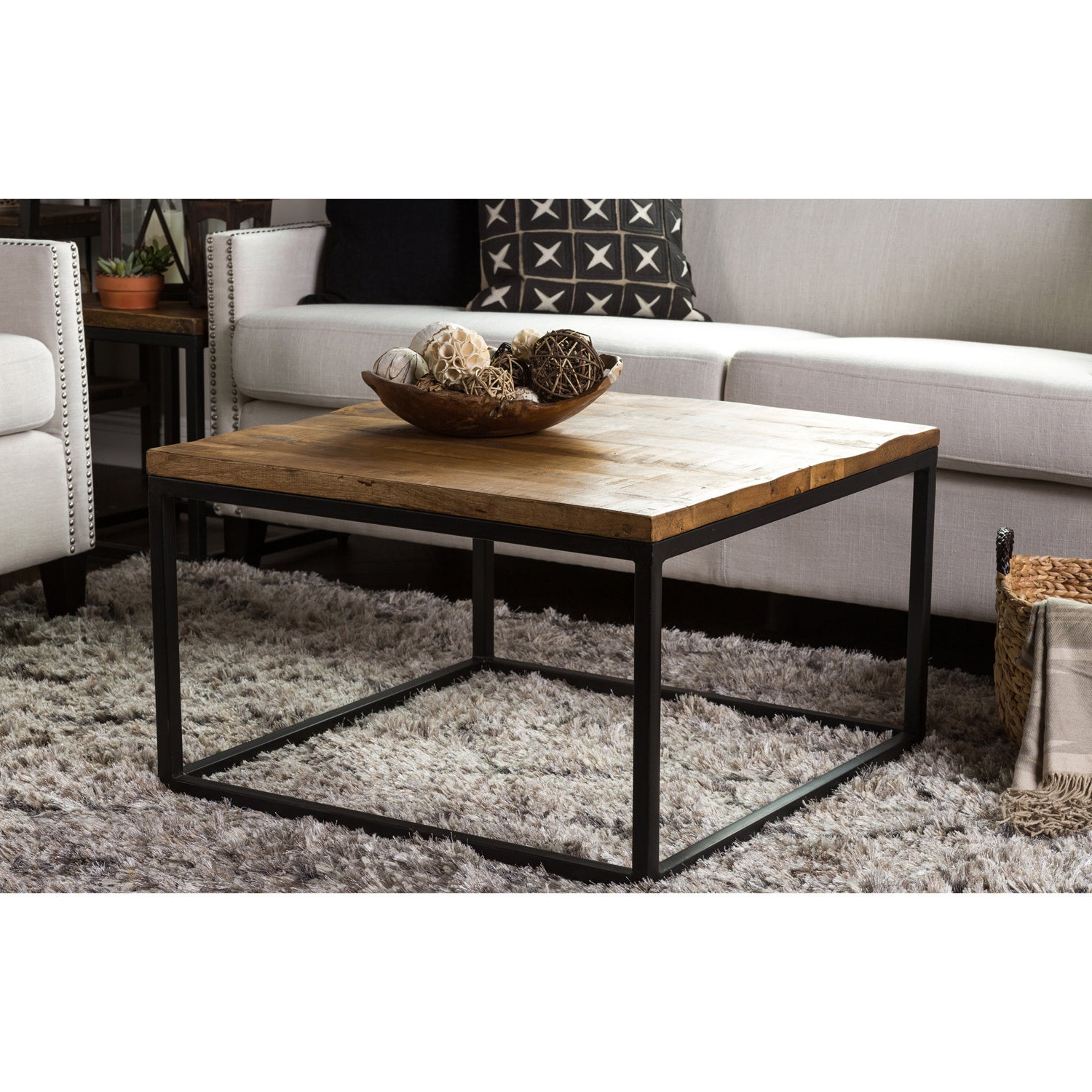 Paris Natural Wood And Iron 30 Inch Square Coffee Tablekosas Home Throughout 2019 Paris Natural Wood And Iron 30 Inch Square Coffee Tables (View 2 of 20)