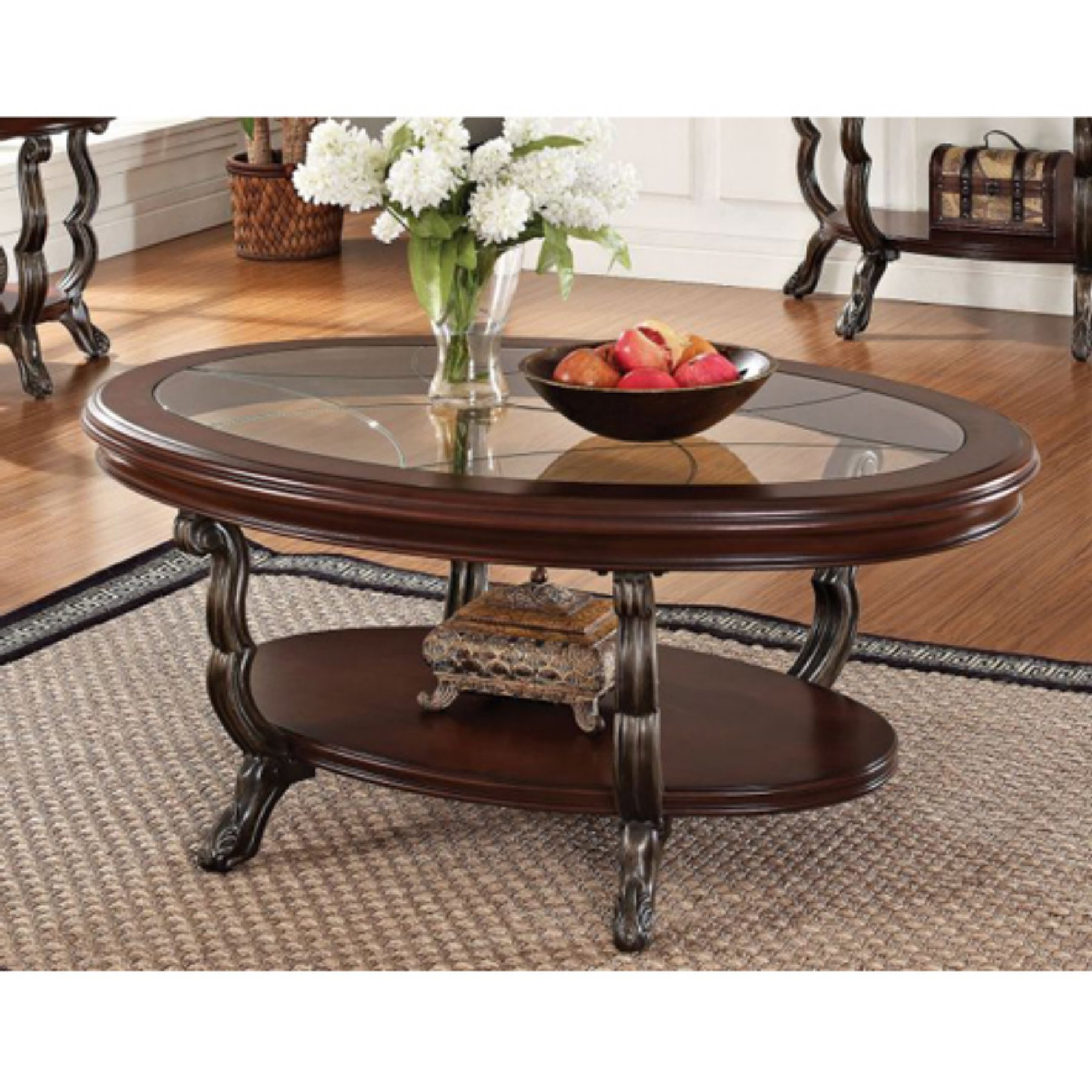 Pin On Ashley Furniture In Favorite Furniture Of America Crescent Dark Cherry Glass Top Oval Coffee Tables (View 7 of 20)