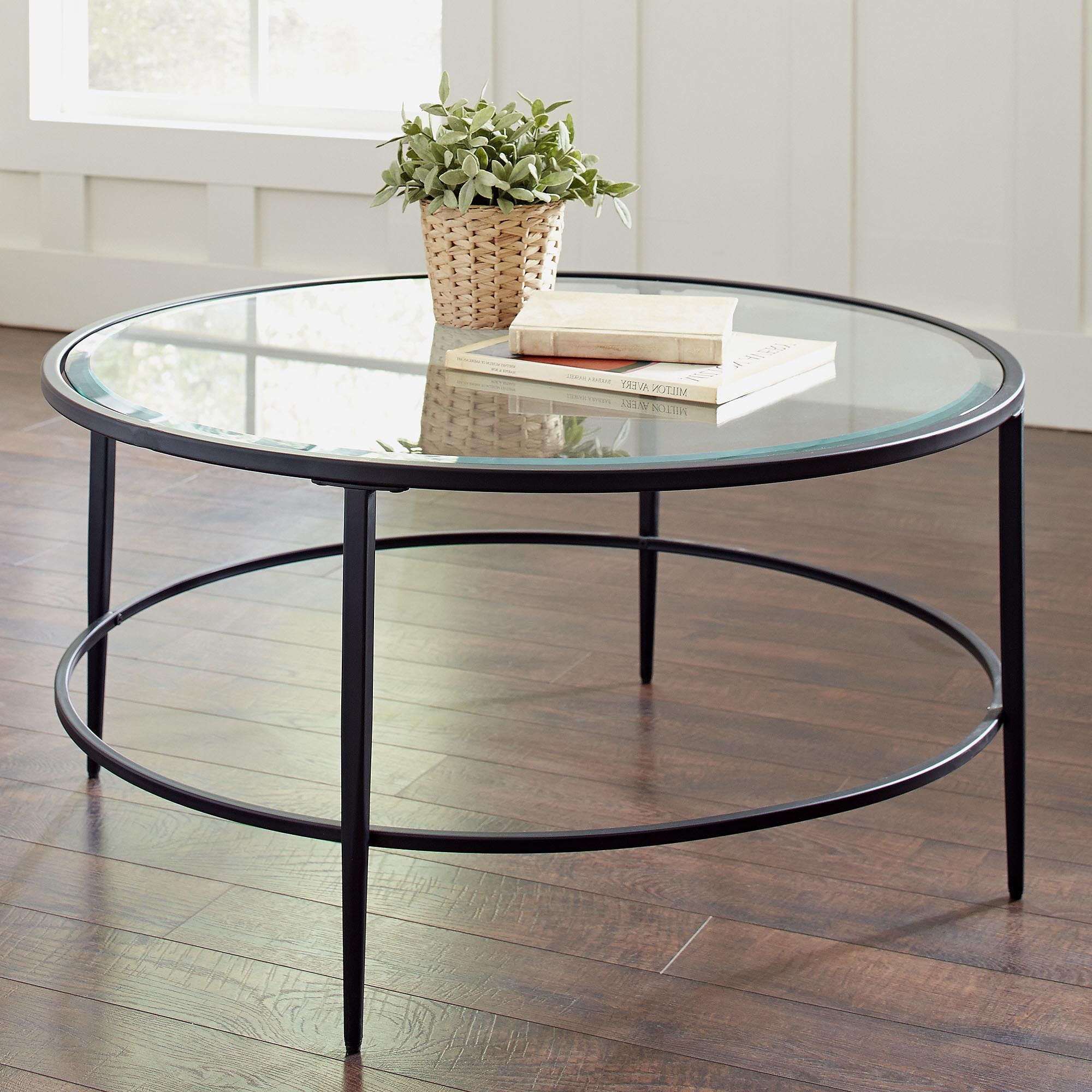 Popular Carbon Loft Heimlich Metal Glass Rectangle Coffee Tables Pertaining To Glass Circle Coffee Table (View 15 of 20)