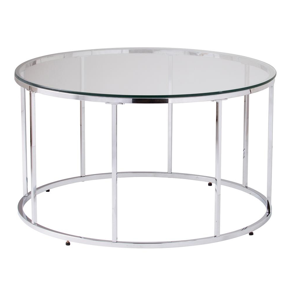 Popular Contemporary Chrome Glass Top And Mirror Shelf Coffee Tables Intended For Southern Enterprises Selma Chrome Glass Top Round Cocktail (View 14 of 20)