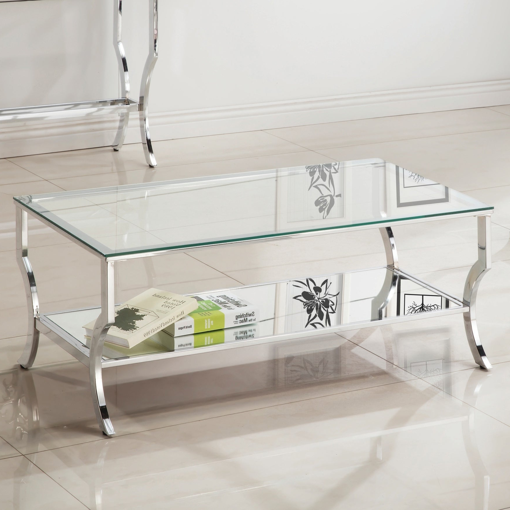 Featured Photo of Contemporary Chrome Glass Top And Mirror Shelf Coffee Tables