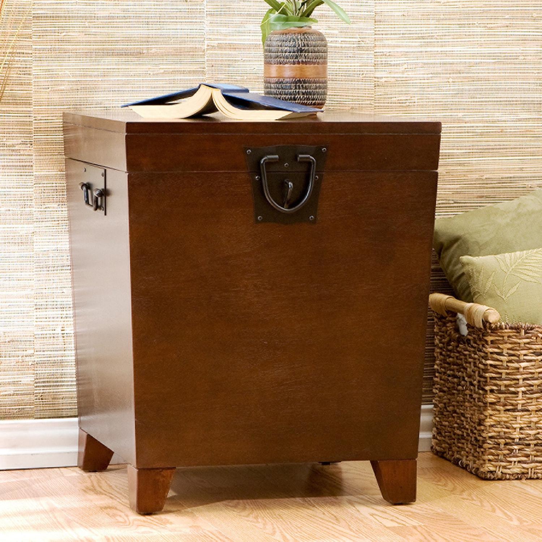 Popular Copper Grove Liatris Nailhead Espresso Cocktail Tables Pertaining To Clay Alder Home Hi Line Espresso (Brown) Trunk End Table (View 16 of 20)