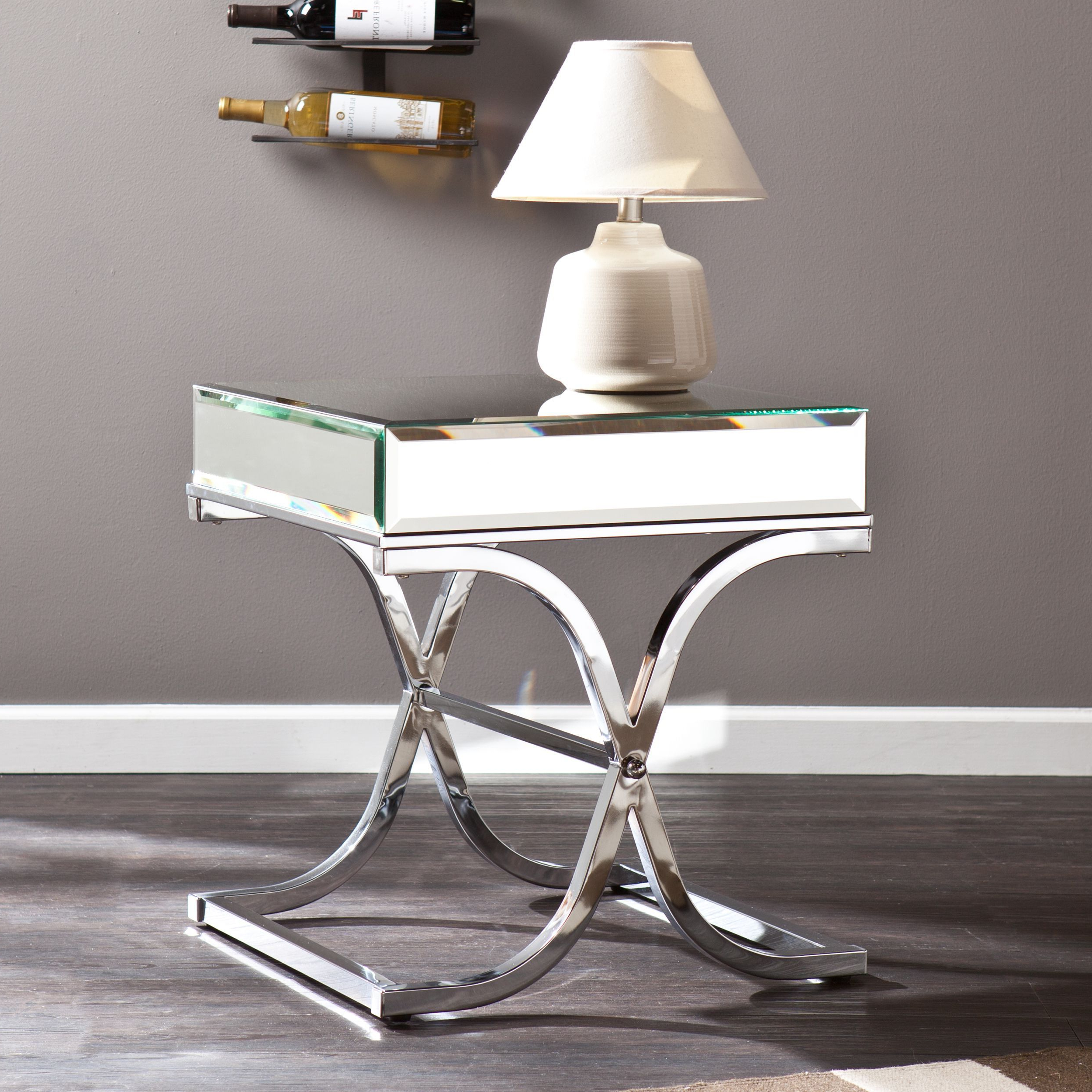 Popular Silver Orchid Olivia Glam Mirrored Round Cocktail Tables Intended For Harper Blvd Annabelle Chrome Mirrored Side/ End Table (View 18 of 20)
