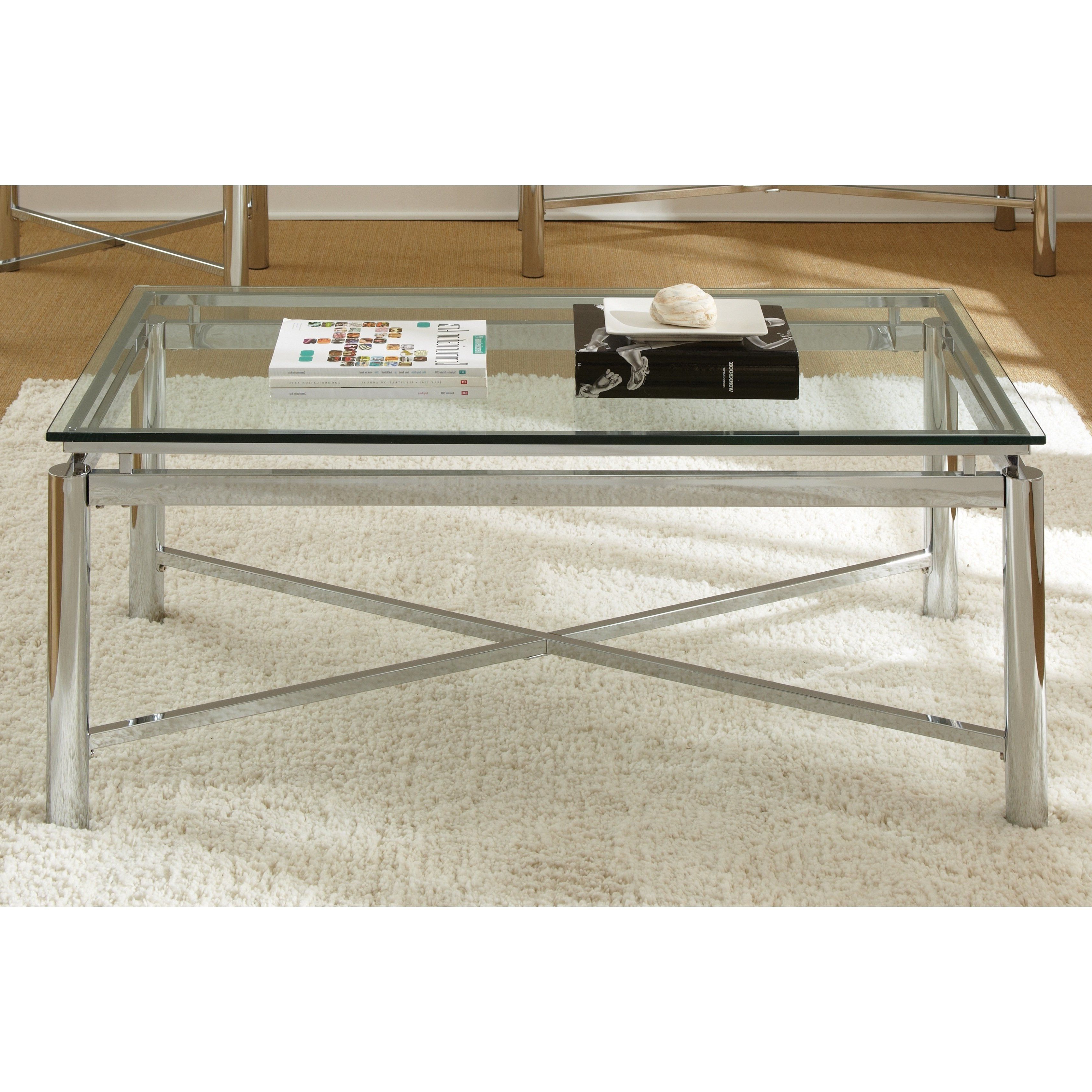Popular Strick & Bolton Jules Chrome And Glass Coffee Tables With Oliver & James Jules Chrome (grey) And Glass Coffee Table (View 6 of 20)