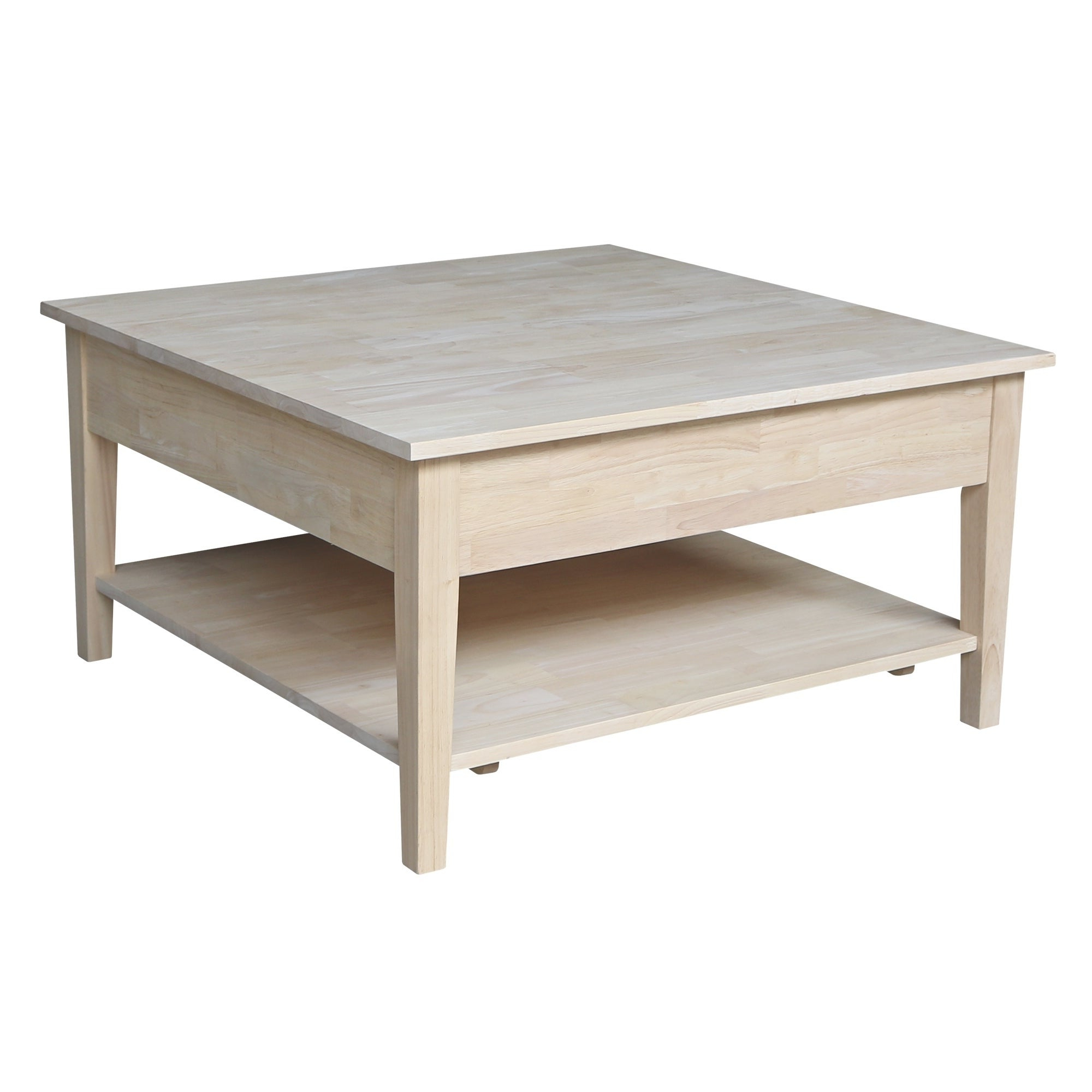 Popular Unfinished Solid Parawood Square Coffee Tables Inside Spencer Square Coffee Table – Unfinished (View 12 of 20)