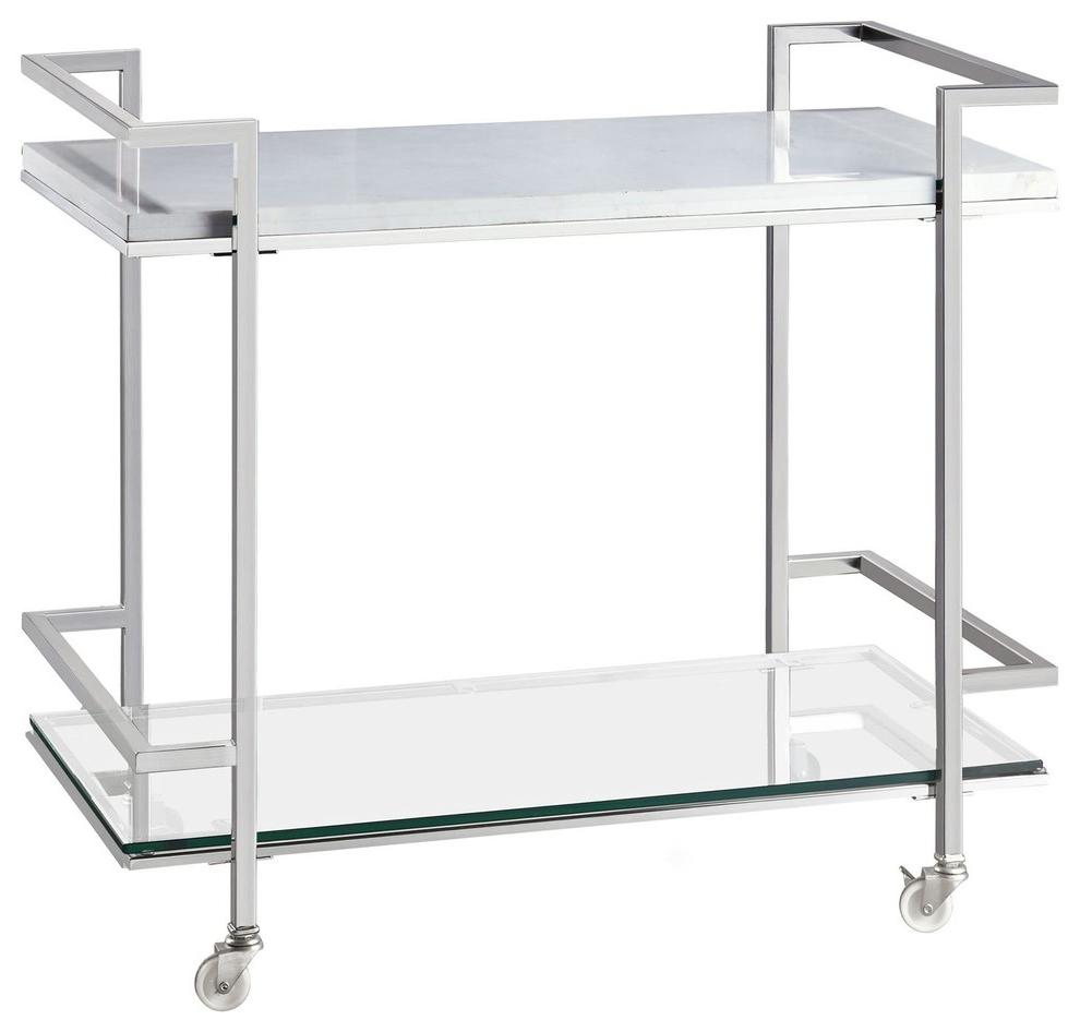 Popular Velma Modern Satin Plated Coffee Tables In Bassett Mirror Velma Bar Cart (View 11 of 20)