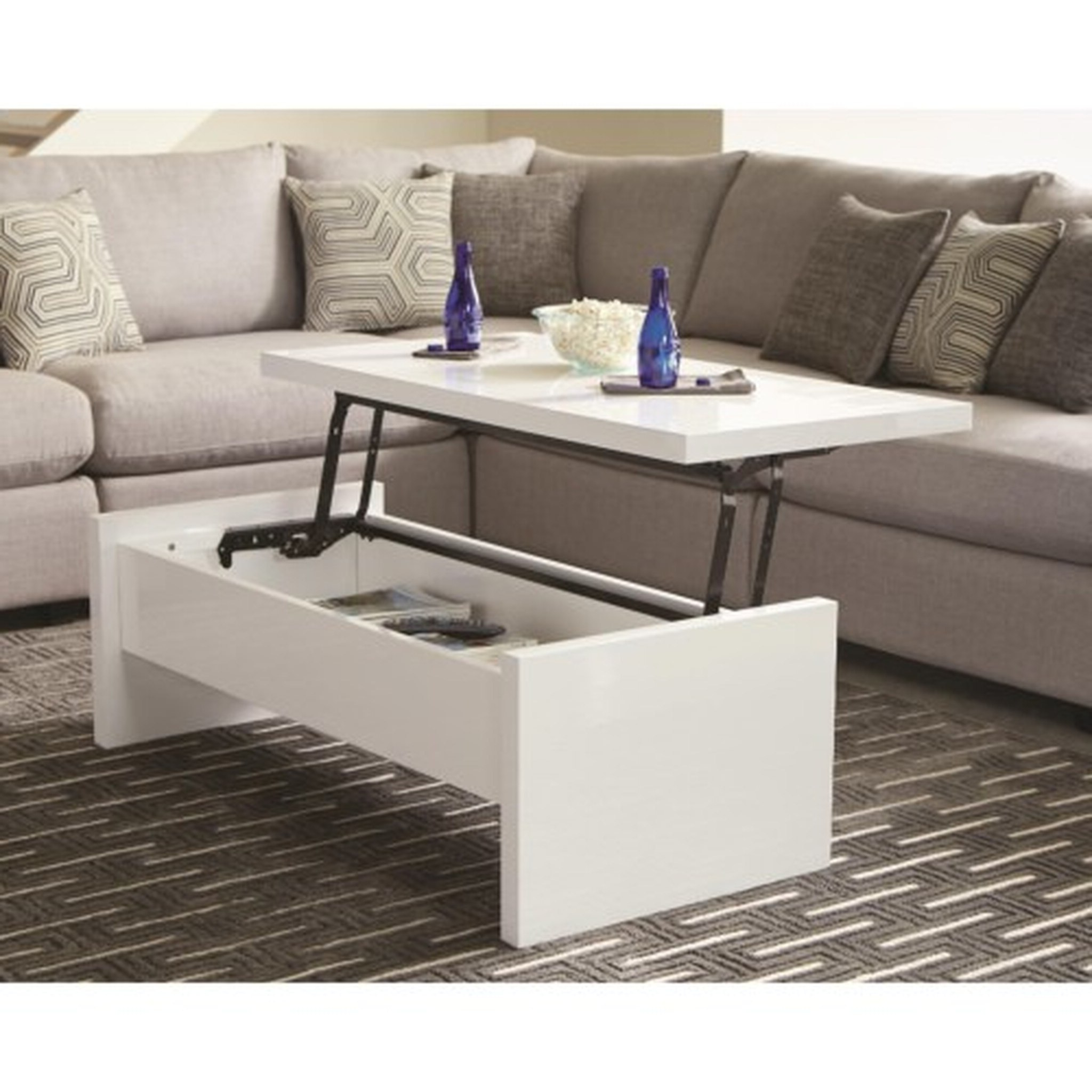 Preferred Arella Ii Modern Distressed Grey White Coffee Tables Within Modern White Coffee Table 700846 Cocktail Tables Mike's (View 10 of 20)