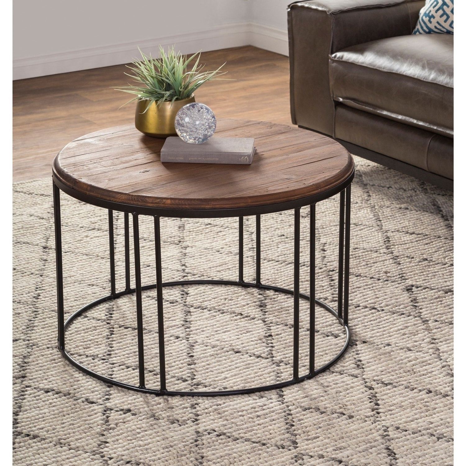 Featured Photo of Burnham Reclaimed Wood And Iron Round Coffee Tables
