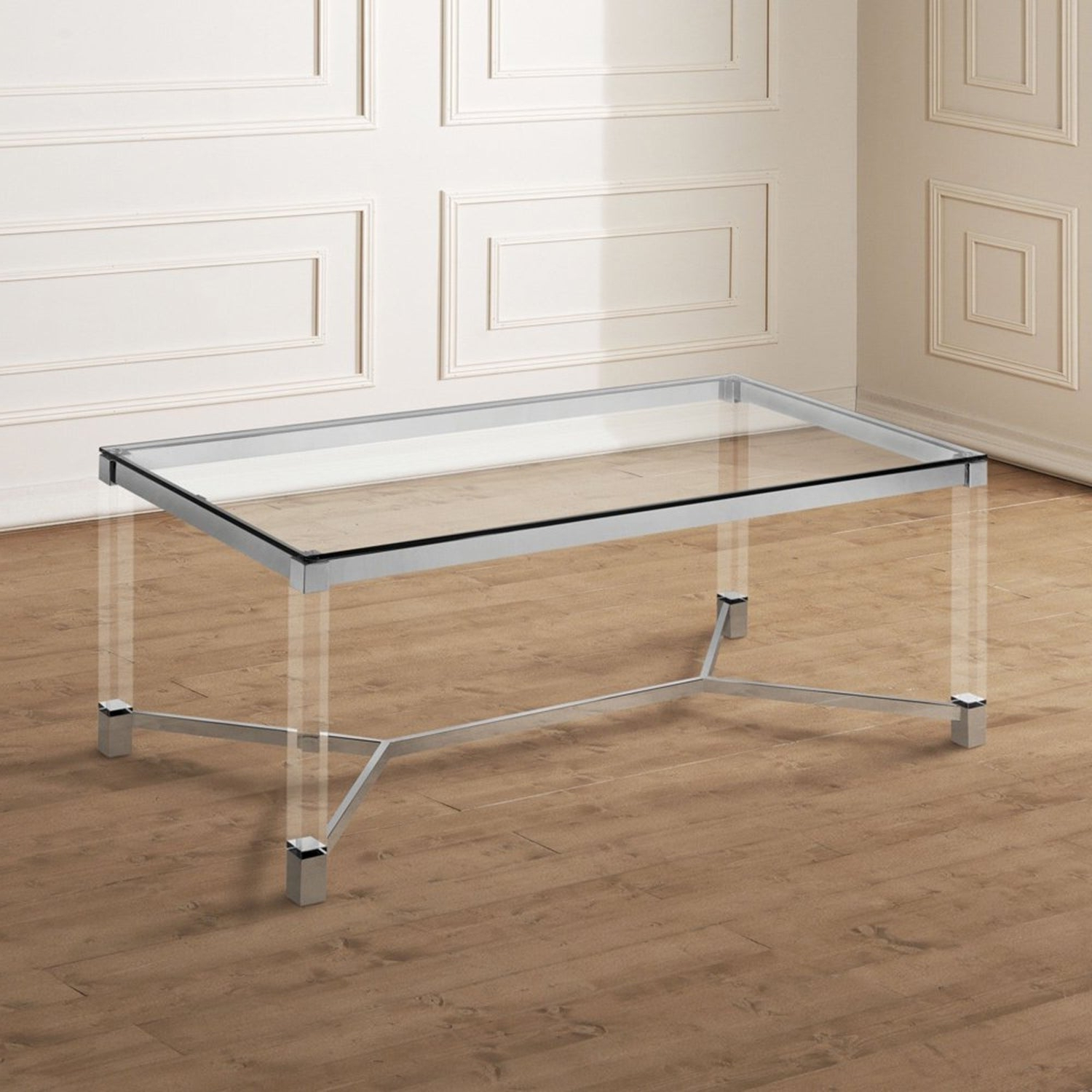 Rayna Contemporary Chrome Tempered Glass Coffee Tablefoa For Preferred Thalberg Contemporary Chrome Coffee Tables By Foa (View 13 of 20)