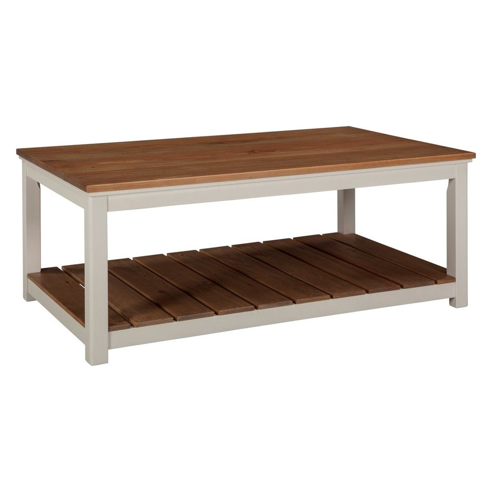 Recent Alaterre Country Cottage Wooden Long Coffee Tables Regarding Alaterre Furniture Savannah 45 W Coffee Table Ivory With (View 16 of 20)