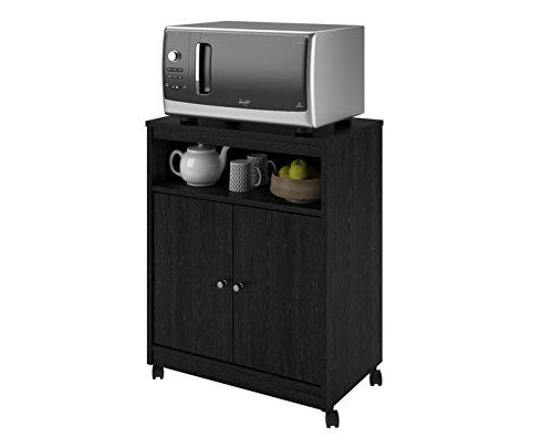 Recent Blandy Kitchen Pantry For Microwave Cart With Doors Storage Black Kitchen Utility Wood (View 14 of 20)