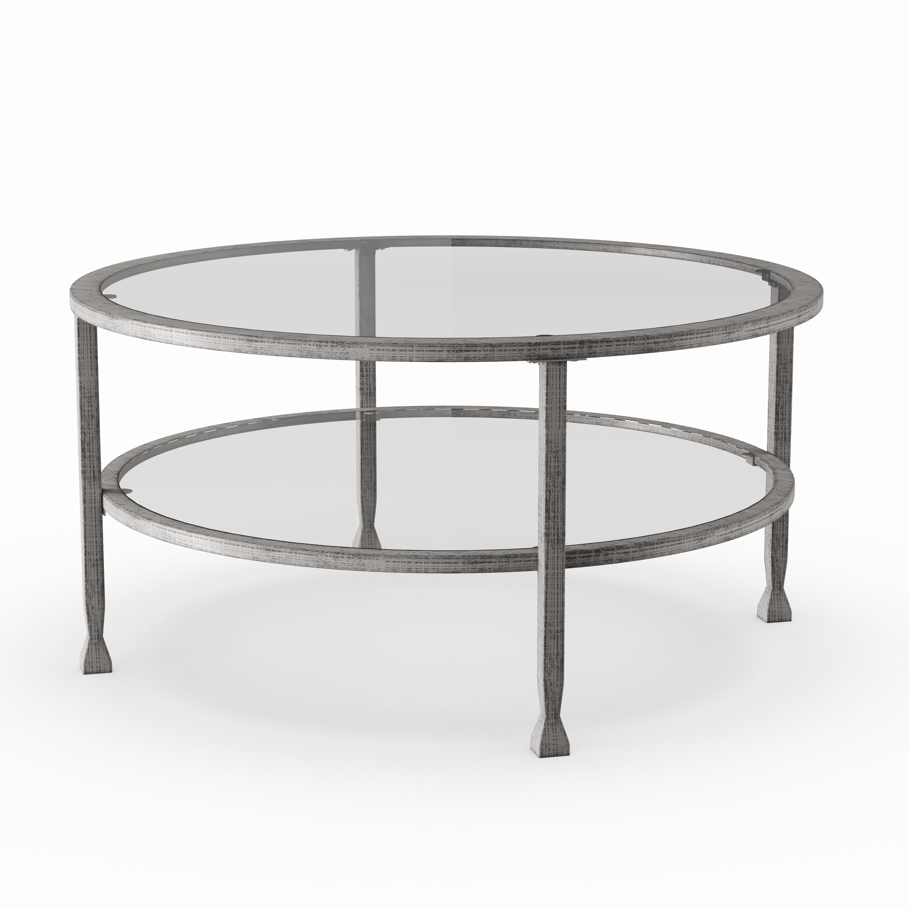 Recent Carbon Loft Heimlich Pewter Steel/glass Round Coffee Tables Intended For Carbon Loft Glenn Silver Metal/ Glass Round Cocktail Table (View 16 of 20)