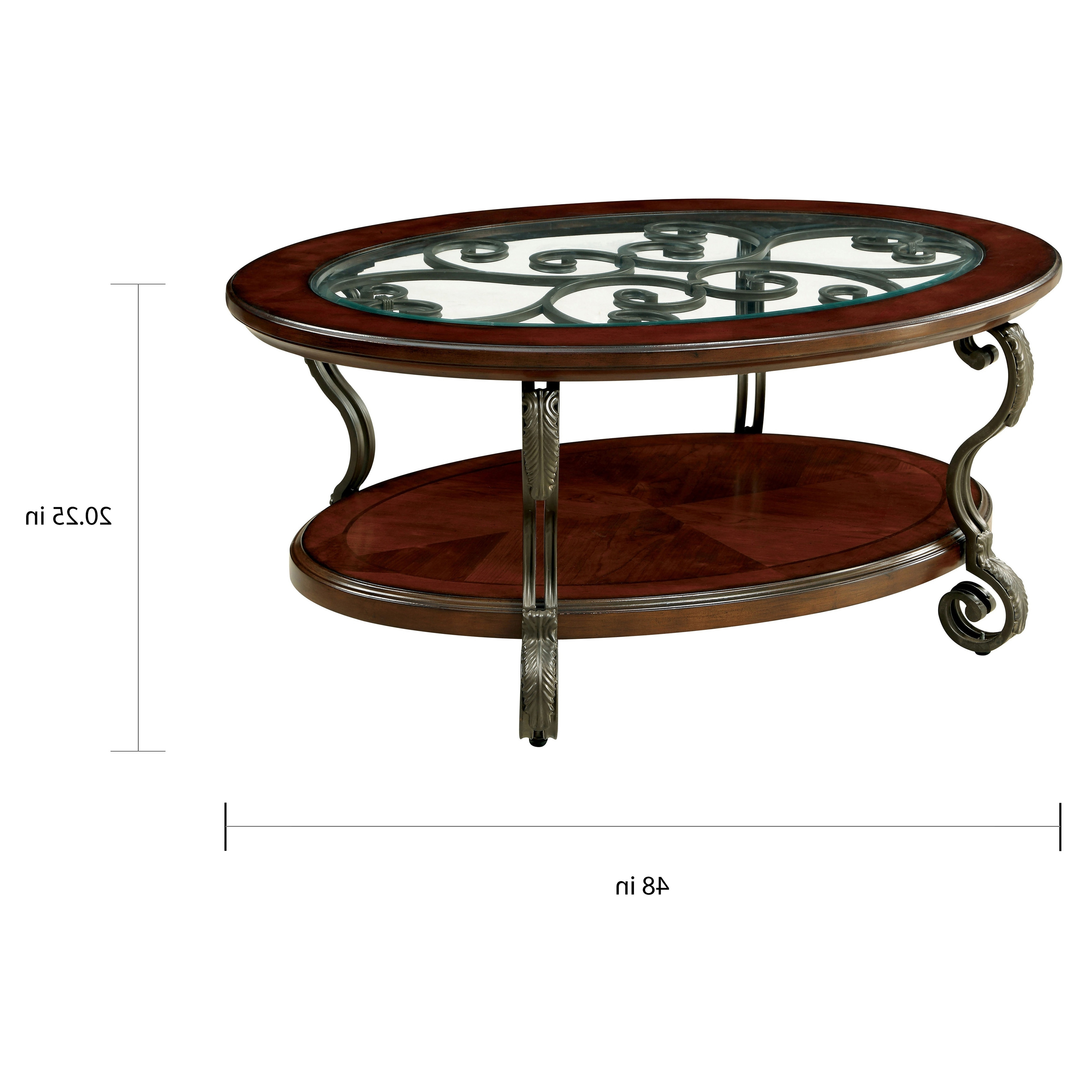 Featured Photo of Cohler Traditional Brown Cherry Oval Coffee Tables