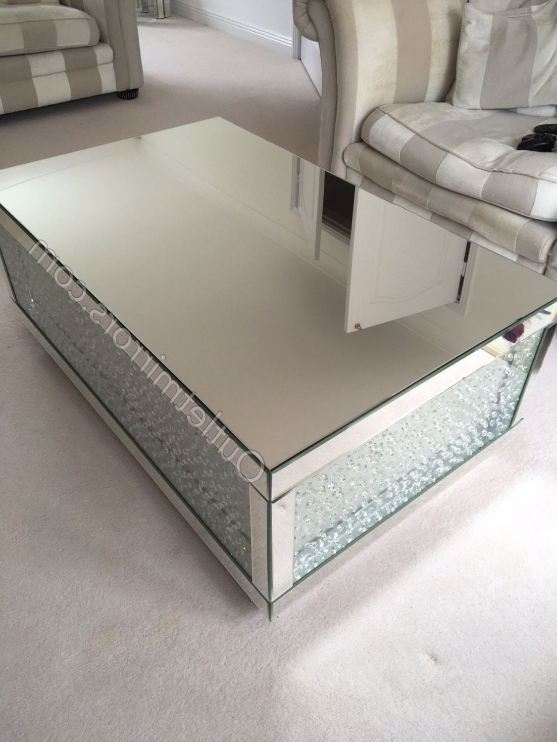 Recent Contemporary Chrome Glass Top And Mirror Shelf Coffee Tables For Decorated With Glass Crystals, Thisbbeautiful Item Is Made (View 16 of 20)