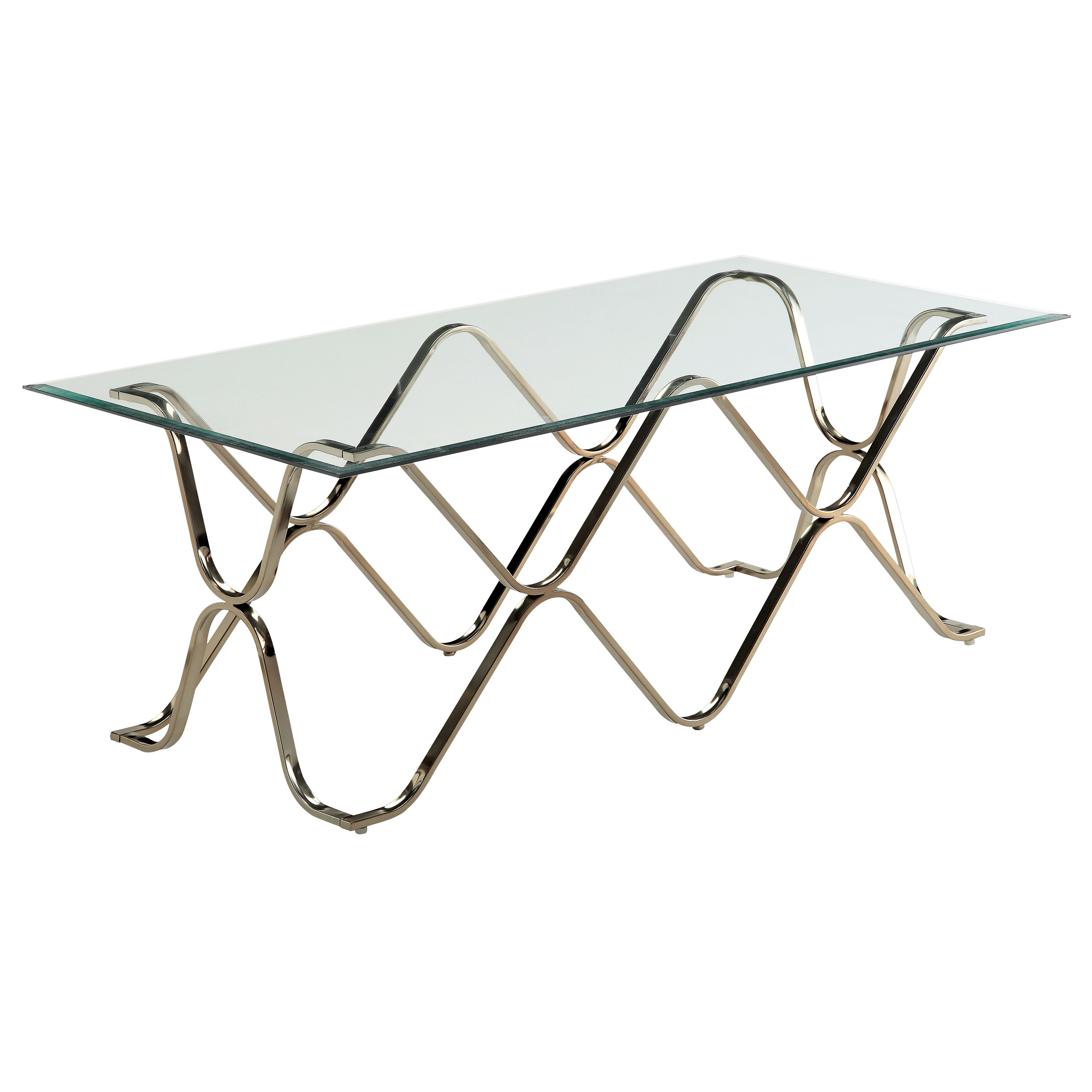 Recent Furniture Of America Tellarie Contemporary Chrome Coffee Tables For Furniture Of America Lexine Curved X Frame Chrome Coffee (View 14 of 20)