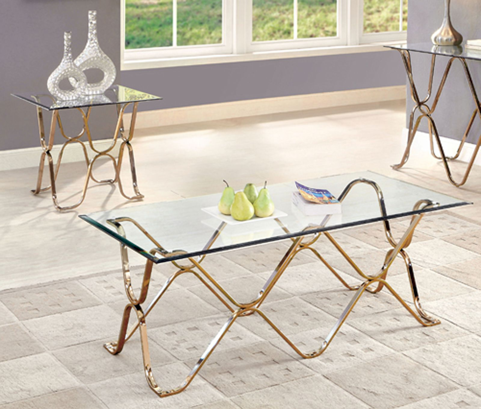 Recent Furniture Of America Tellarie Contemporary Chrome Coffee Tables Pertaining To Furniture Of America Lexine Curved X Frame 2 Pc Chrome (View 15 of 20)