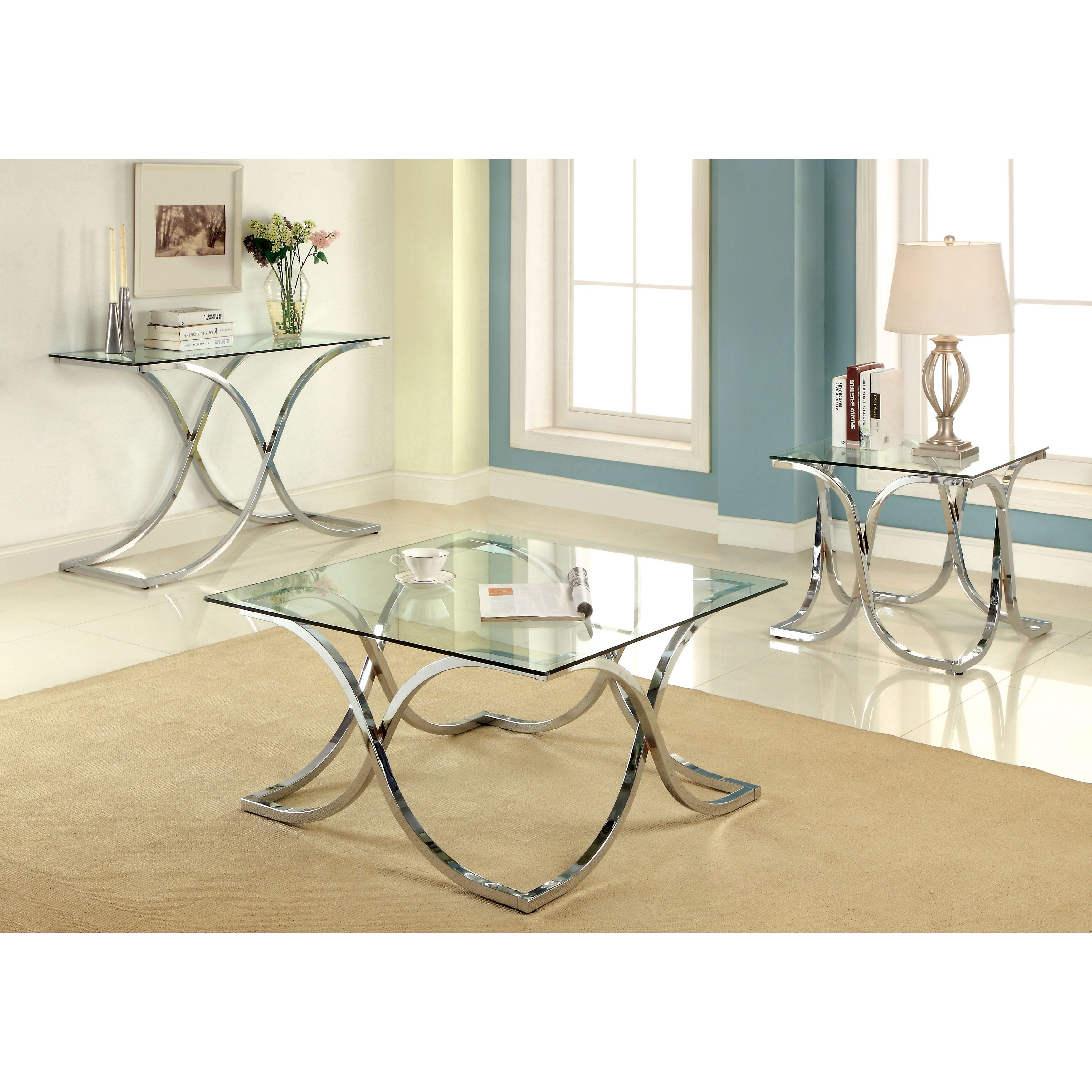 Recent Furniture Of America Tellarie Contemporary Chrome Coffee Tables Regarding Silver Orchid Olivia Modern 3 Piece Chrome Accent Table Set (View 16 of 20)