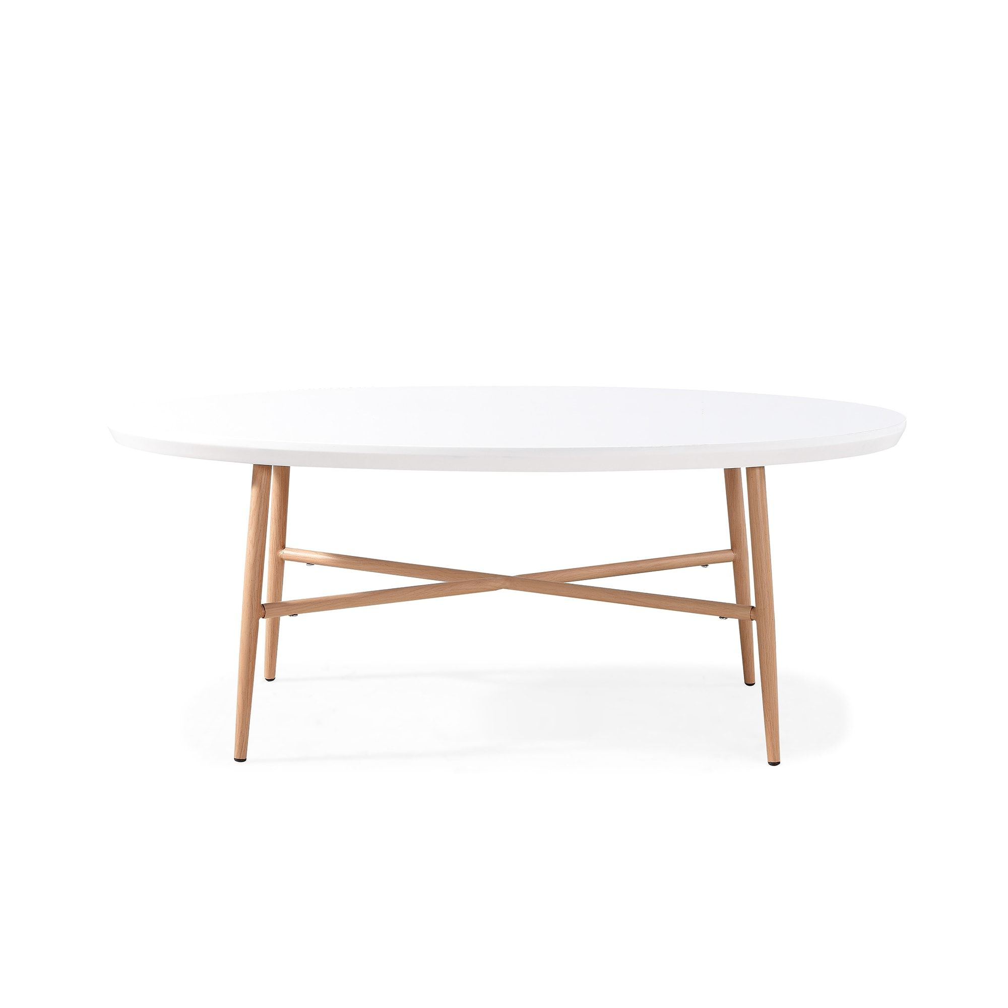 Recent Handy Living Miami White Oval Coffee Tables With Brown Metal Legs Inside Handy Living Miami White Oval Coffee Table With Light Oak (View 12 of 20)