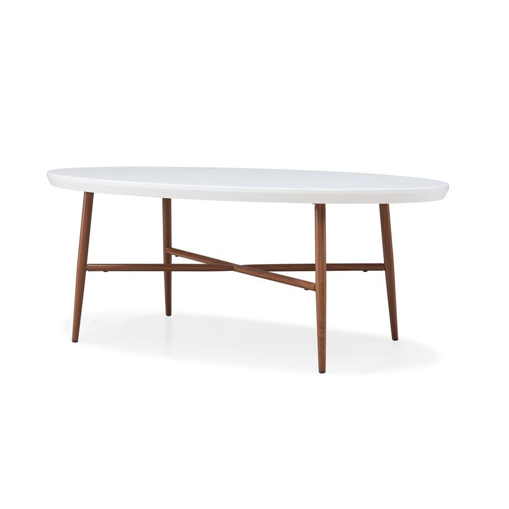 Recent Handy Living Miami White Oval Coffee Tables With Brown Metal Legs Regarding Handy Living Miami White Oval Cocktail Table With Brown (View 3 of 20)