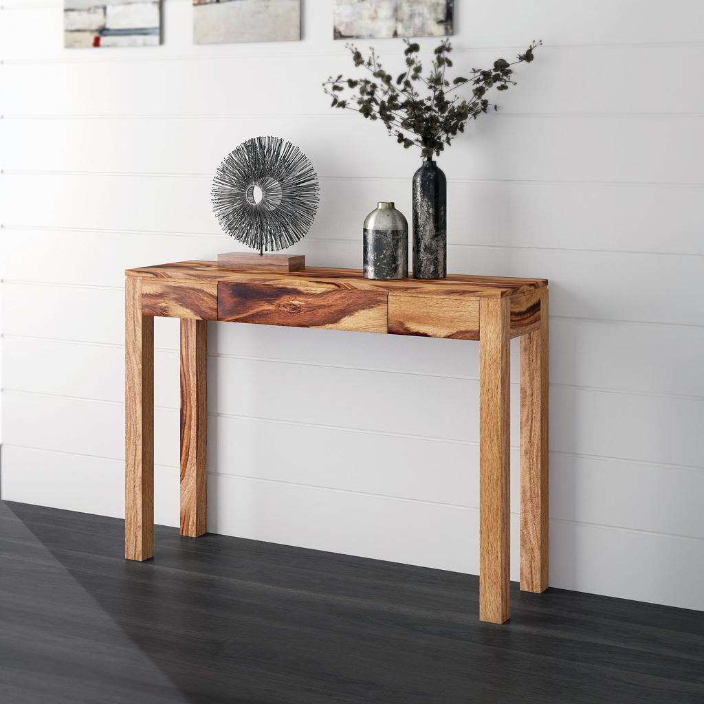 Recent Idris Dark Sheesham Solid Wood Coffee Tables Pertaining To Idris Hand Crafted Console Table With Drawer Dark Sheesham – Casaza (View 5 of 20)