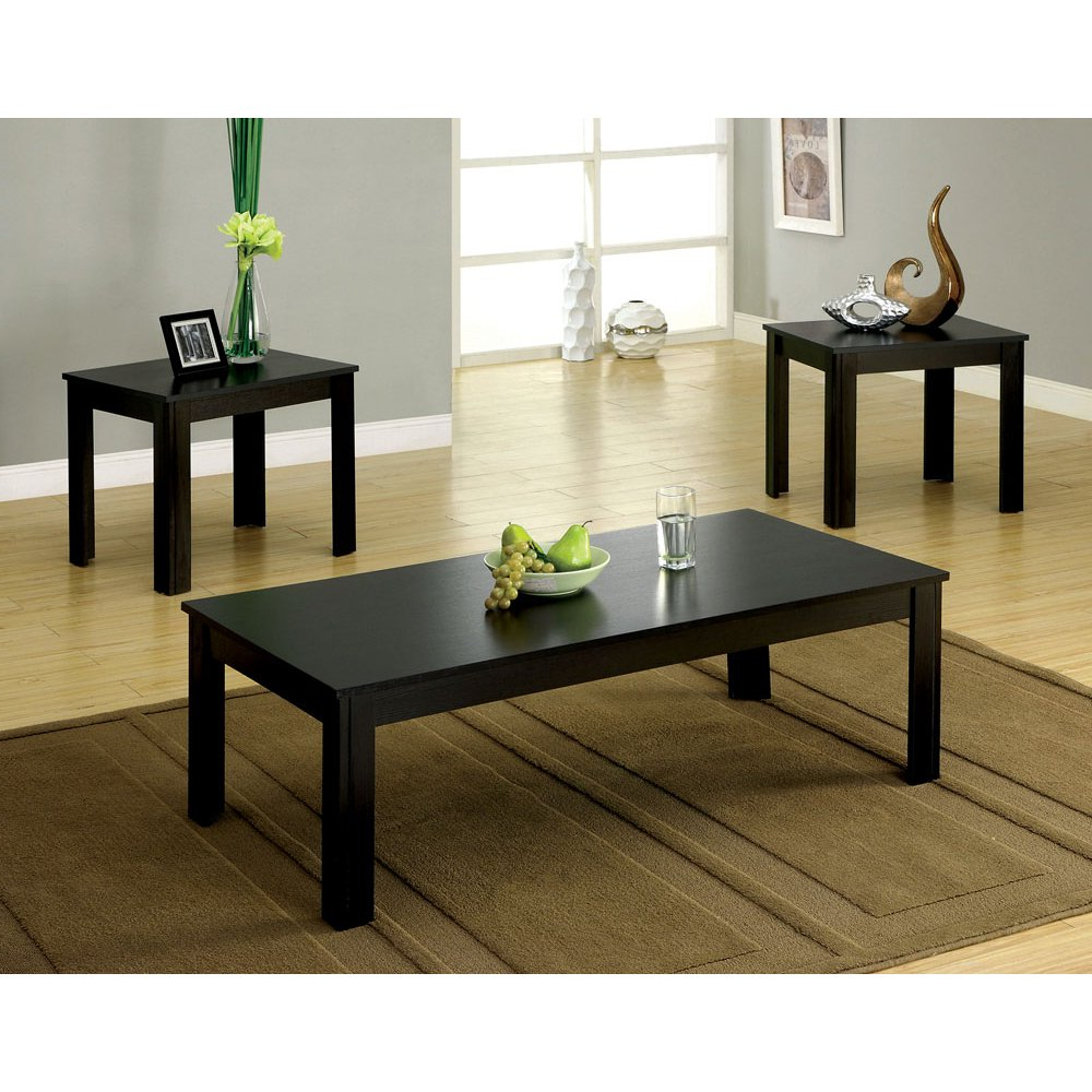 Recent Occasional Contemporary Black Coffee Tables Regarding Bay Square 3 Piece Coffee Table Set (View 14 of 20)