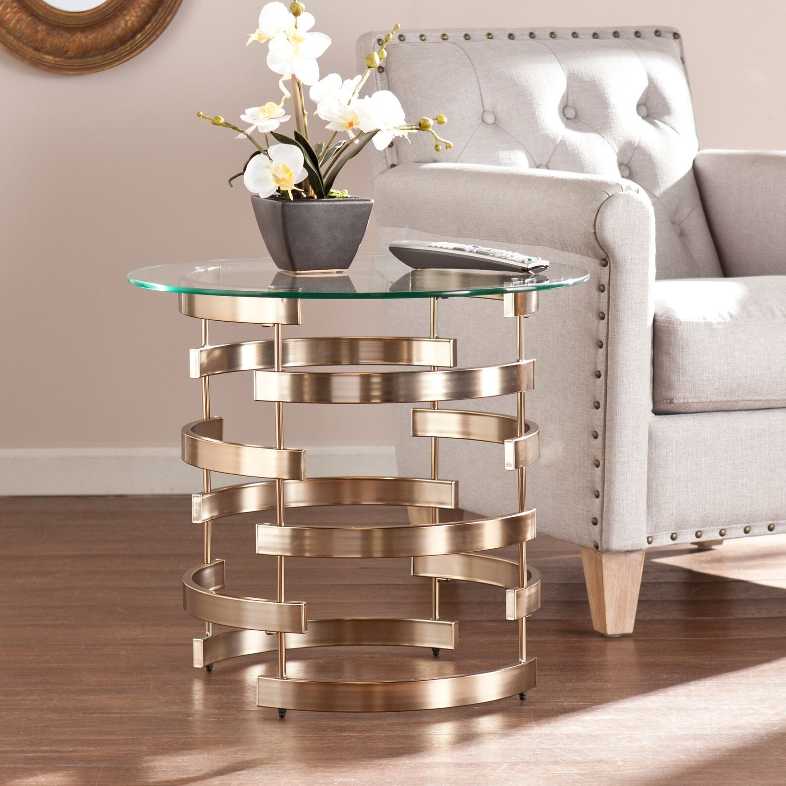 Recent Silver Orchid Olivia Glam Mirrored Round Cocktail Tables With Silver Orchid Grant Side/ End Table (View 19 of 20)