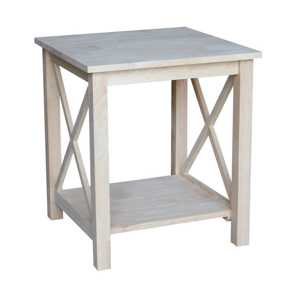 Recent Unfinished Solid Parawood Square Coffee Tables Throughout Hampton End Table – International Concepts, Wood In  (View 14 of 20)