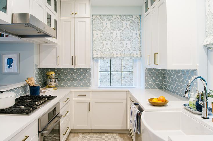 Recent White And Blue Kitchen With Blue Fish Scale Tile Backsplash Throughout Lotus Kitchen Pantry (View 19 of 20)
