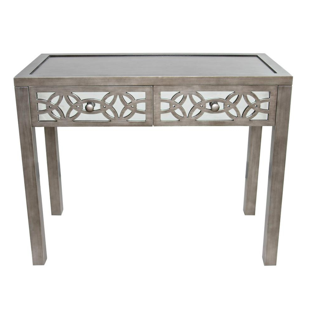 River Of Goods Silver Mirrored 2 Drawer Console Table 16404 Pertaining To Recent Silver Orchid Olivia Glam Mirrored Round Cocktail Tables (View 15 of 20)