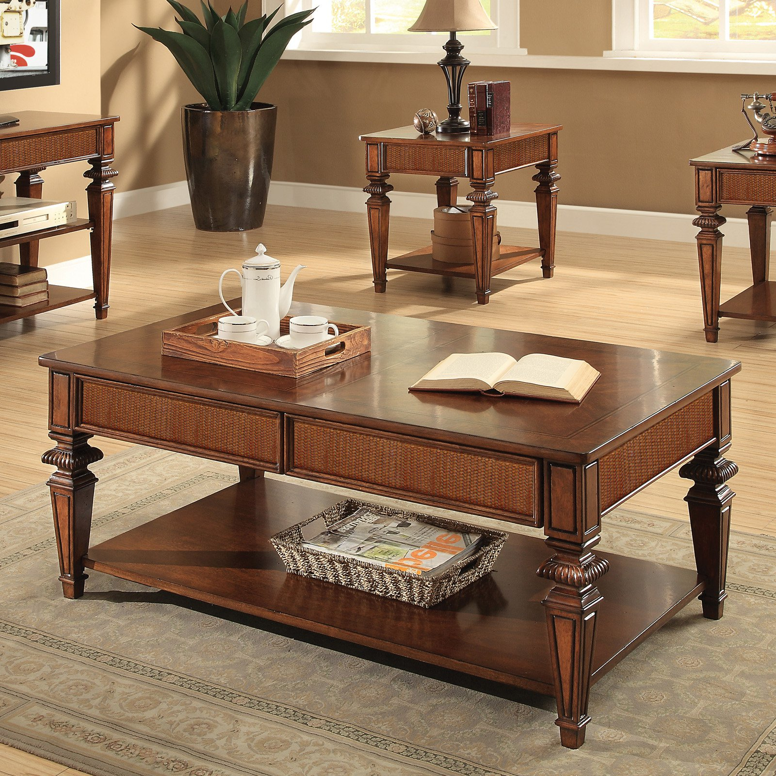 Riverside Windward Bay Rectangular Cocktail Table – Warm Rum Intended For Recent Jessa Rustic Country 54 Inch Coffee Tables (View 11 of 20)
