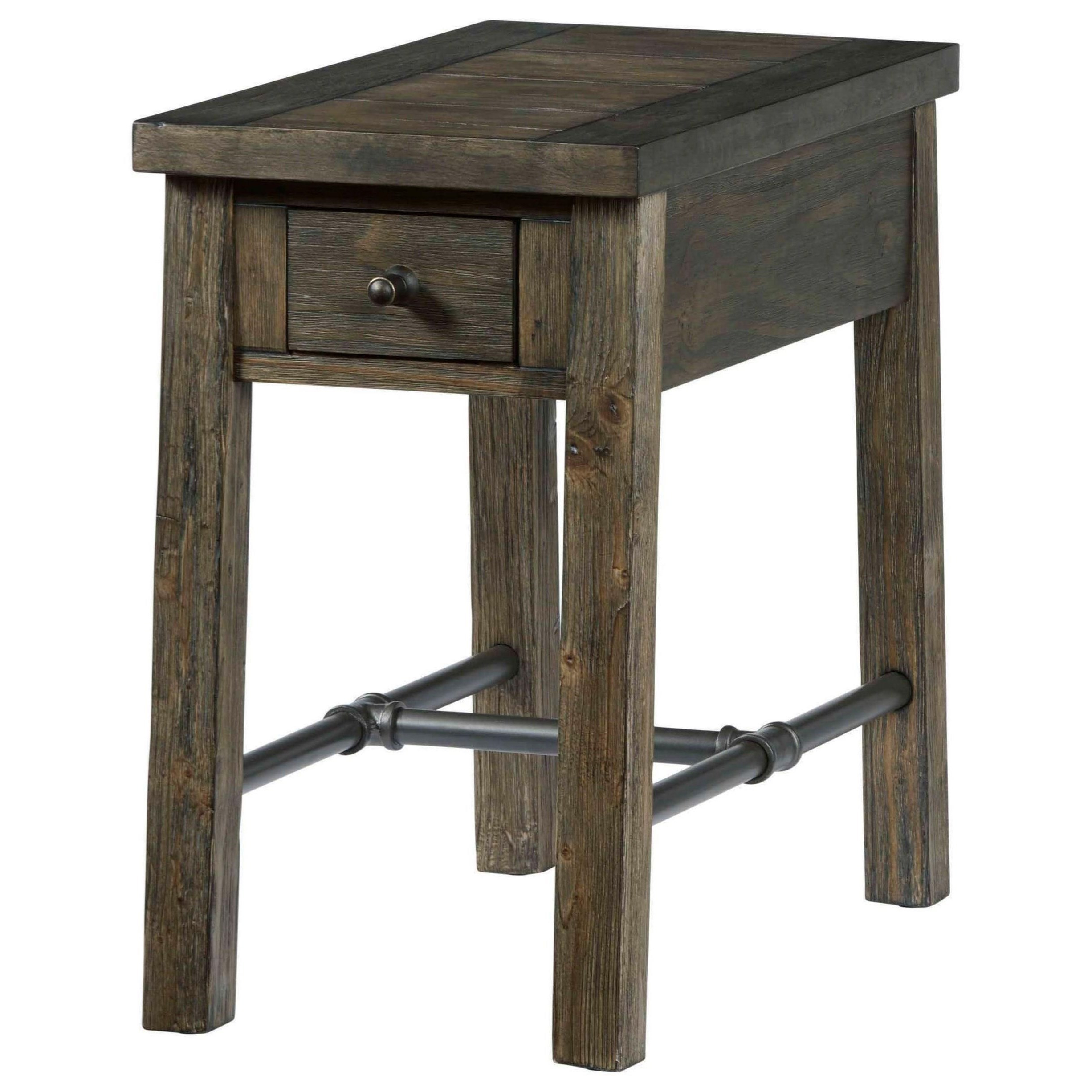 Rustic Chairside Table & Within Recent Copper Grove Ixia Rustic Oak And Slate Tile Coffee Tables (View 10 of 20)